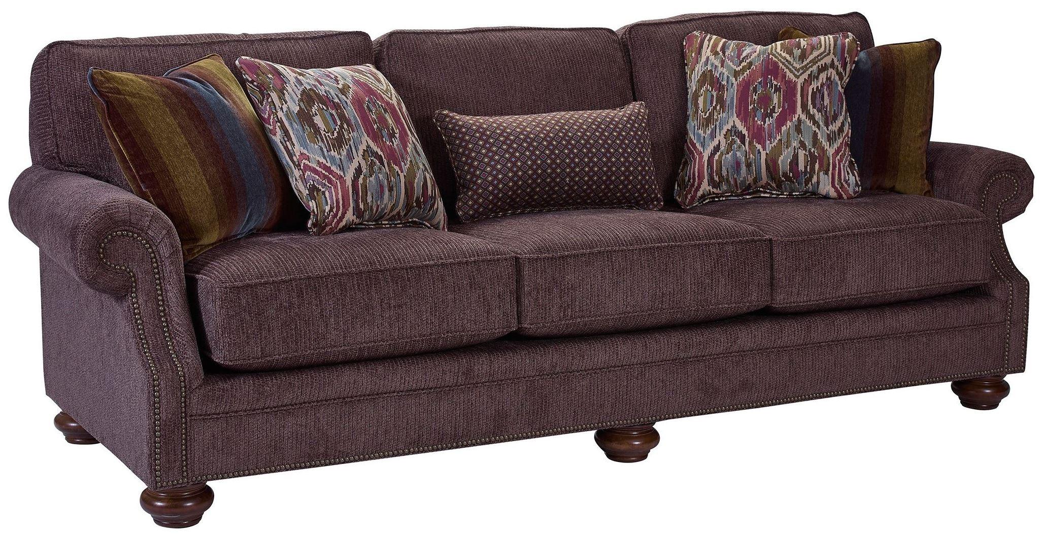 Heuer Walnut Chenille Fabric Sofa 4260 3q 4243 85 Broyhill