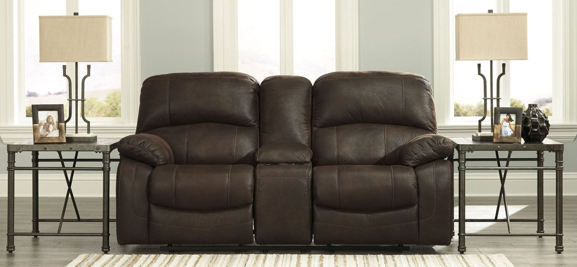 Zavier Truffle Glider Reclining Console Loveseat From