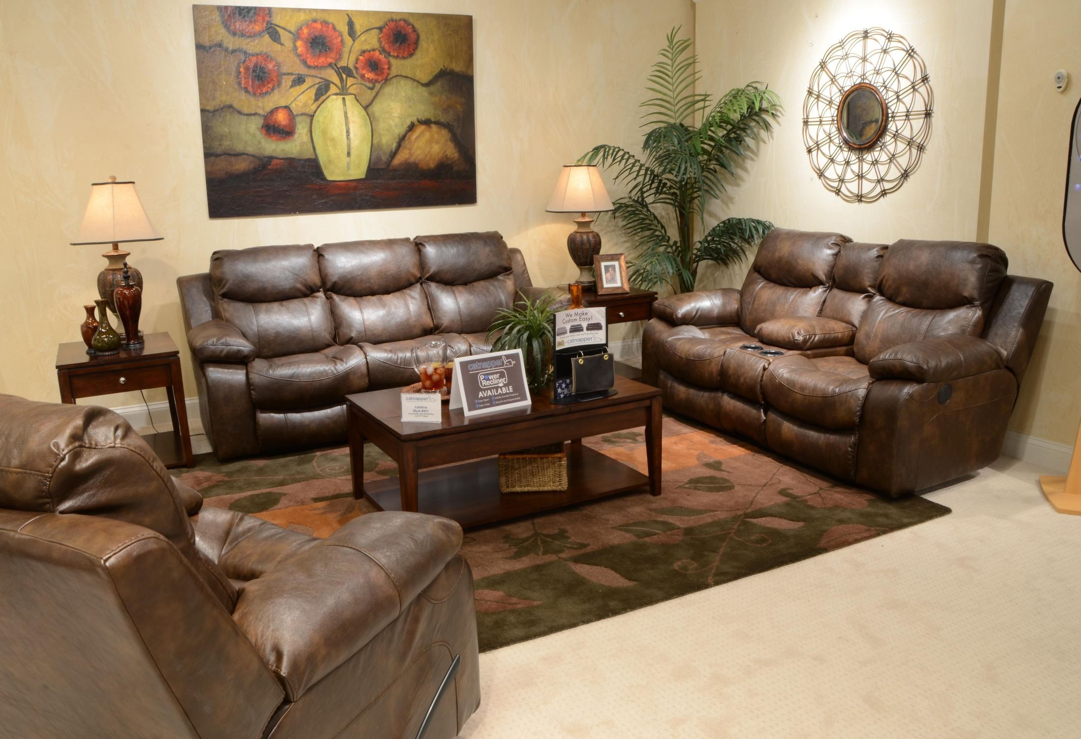 Catalina timber power reclining living room set from for Cheap reclining living room sets