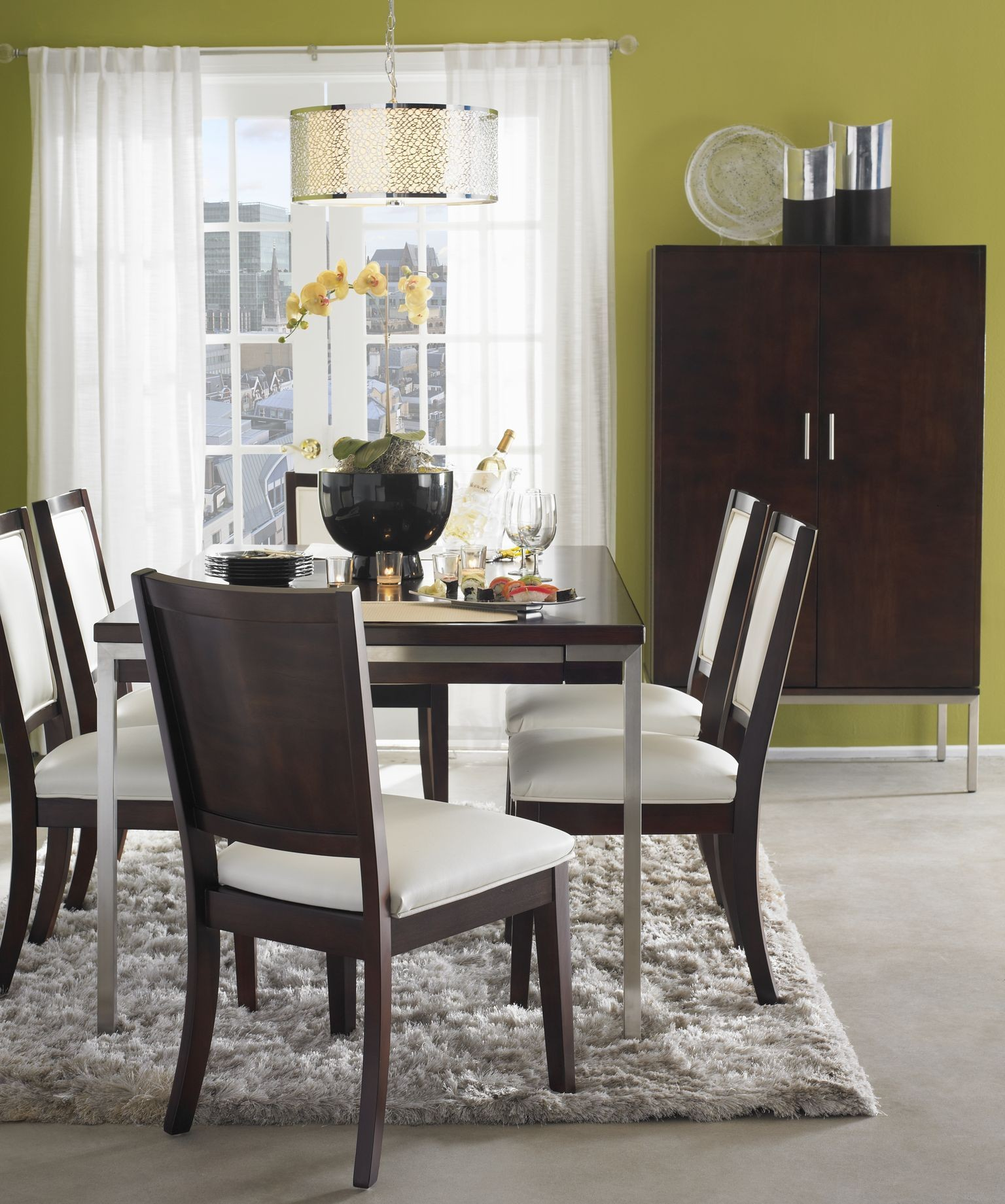Soho dark brown leg dining room set from somerton dwelling for Dark brown dining room