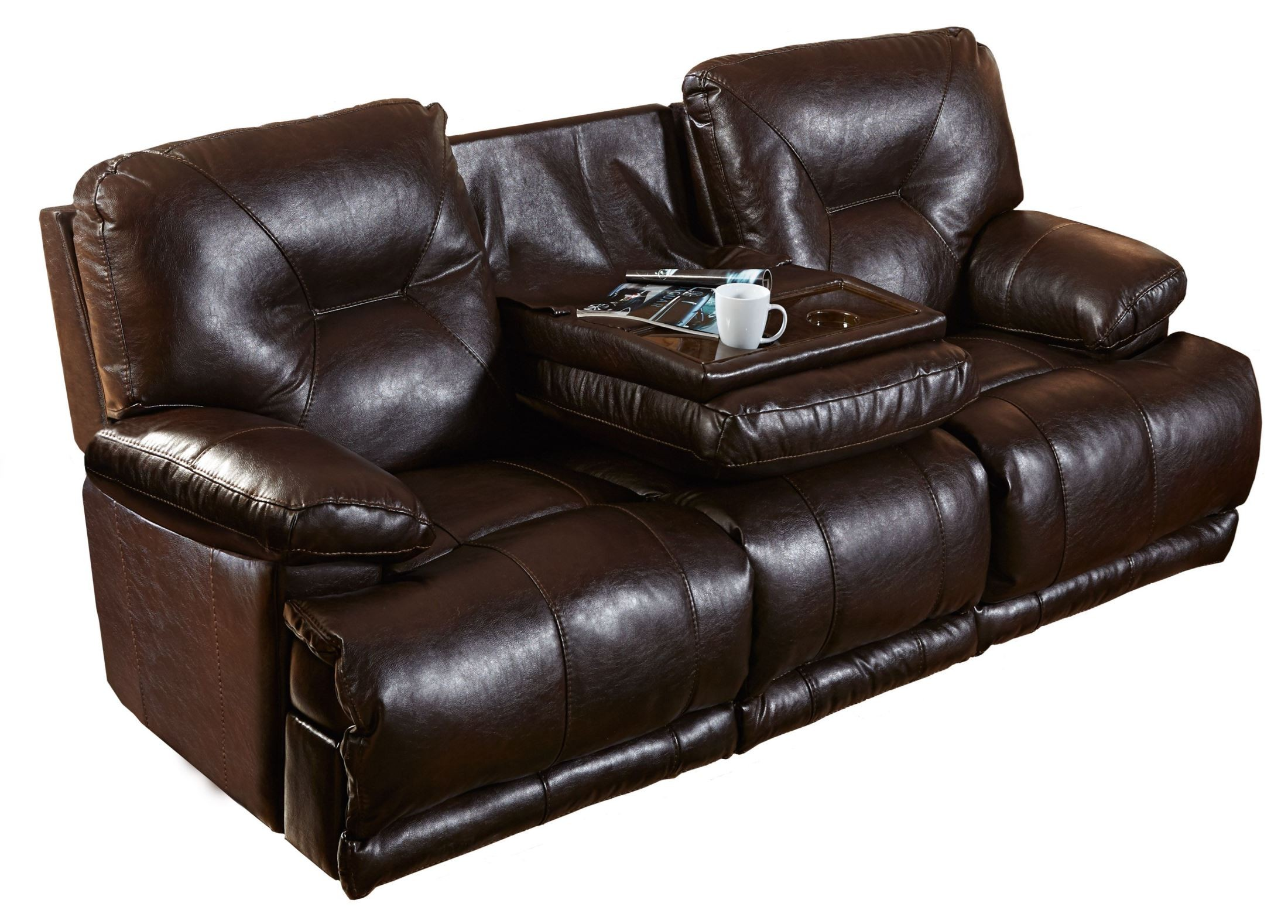Mercury godiva power lay flat reclining sofa with drop for Sectional sofa with drop down table