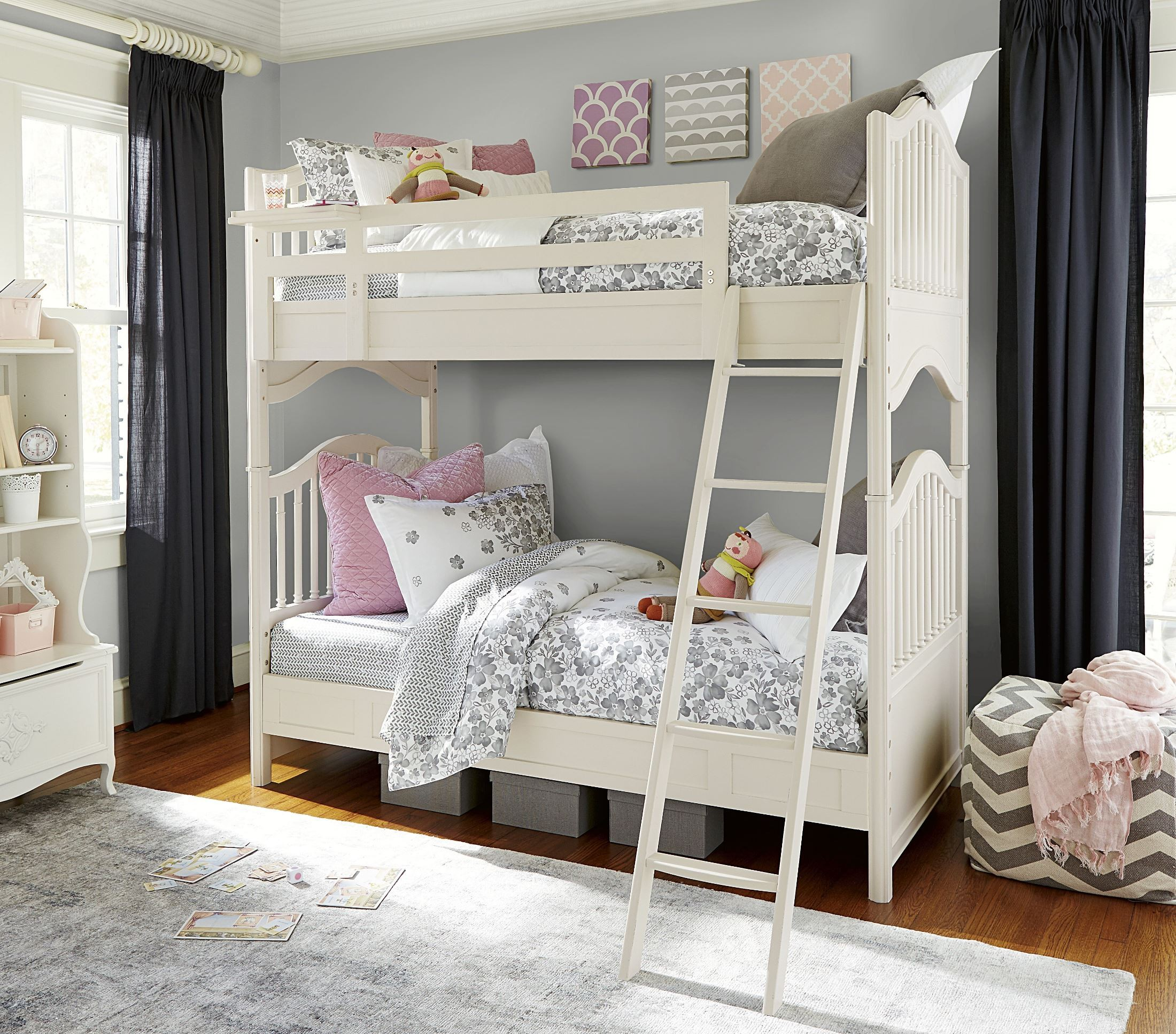 Genevieve French White Bunk Bedroom Set From Smart Stuff 434a530 Coleman Furniture