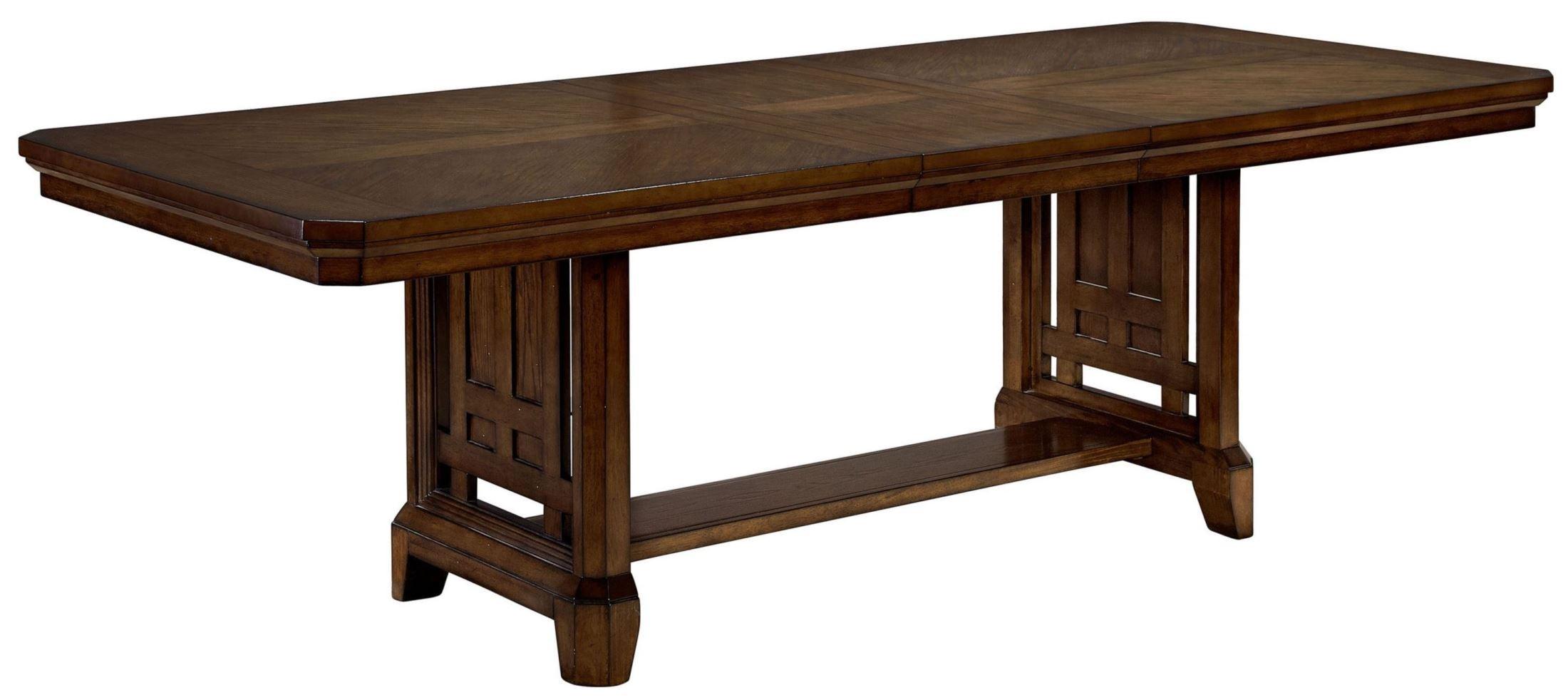 estes park artisan oak rectangular extendable trestle dining table from broyhill 4364 531 551. Black Bedroom Furniture Sets. Home Design Ideas