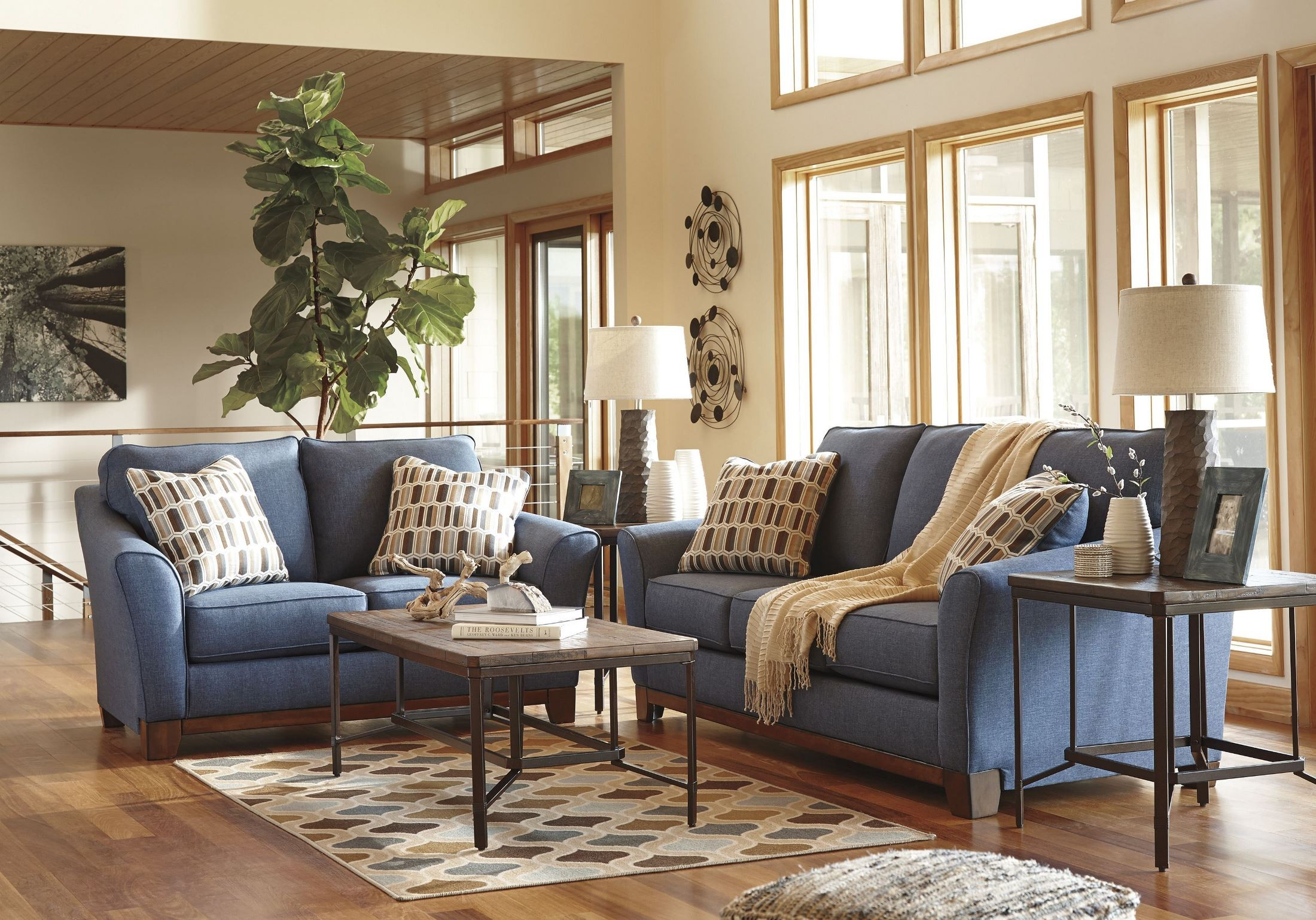 janley denim loveseat 4380735 ashley