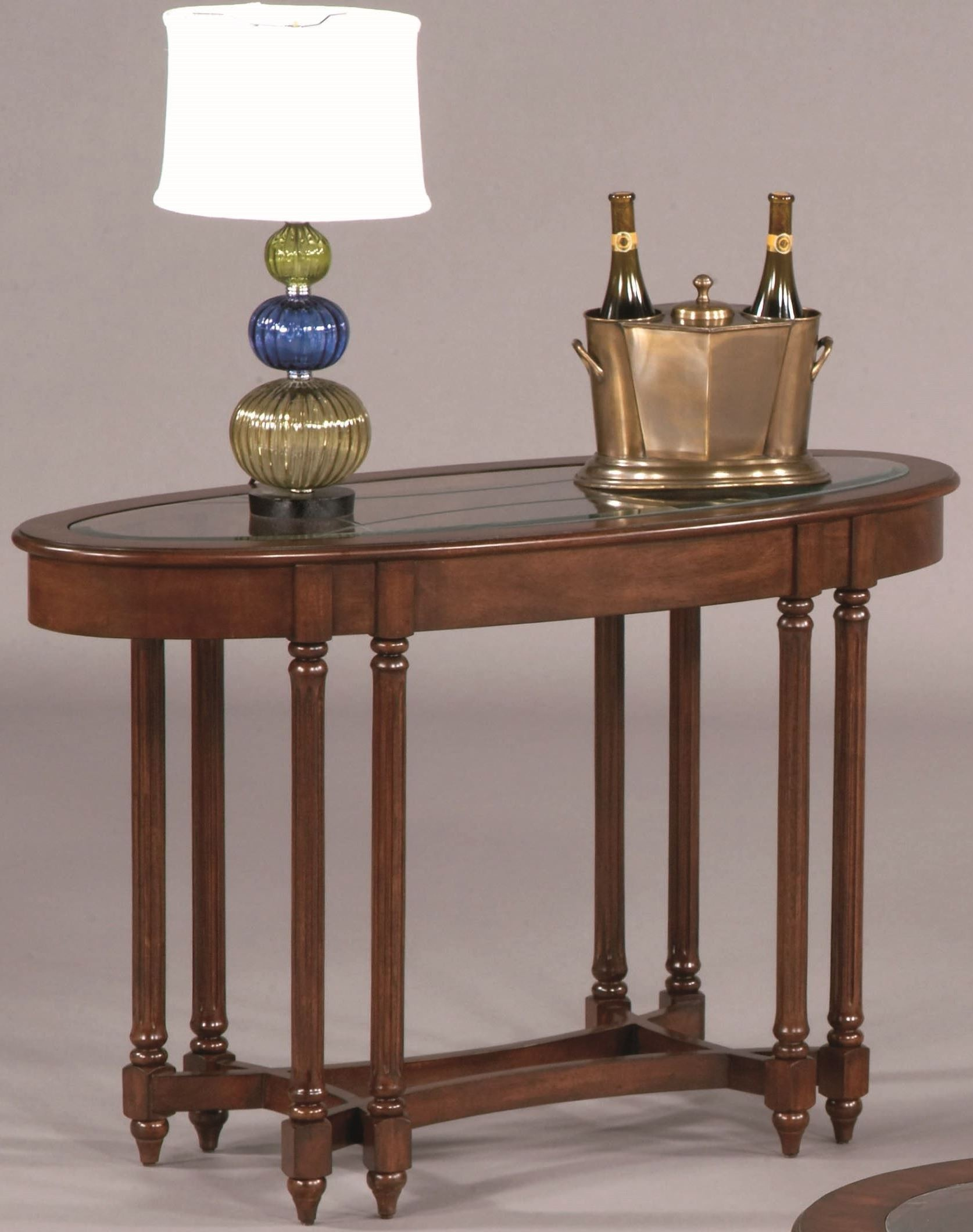 canton heights dark berry oval sofa table 44007 09. Black Bedroom Furniture Sets. Home Design Ideas