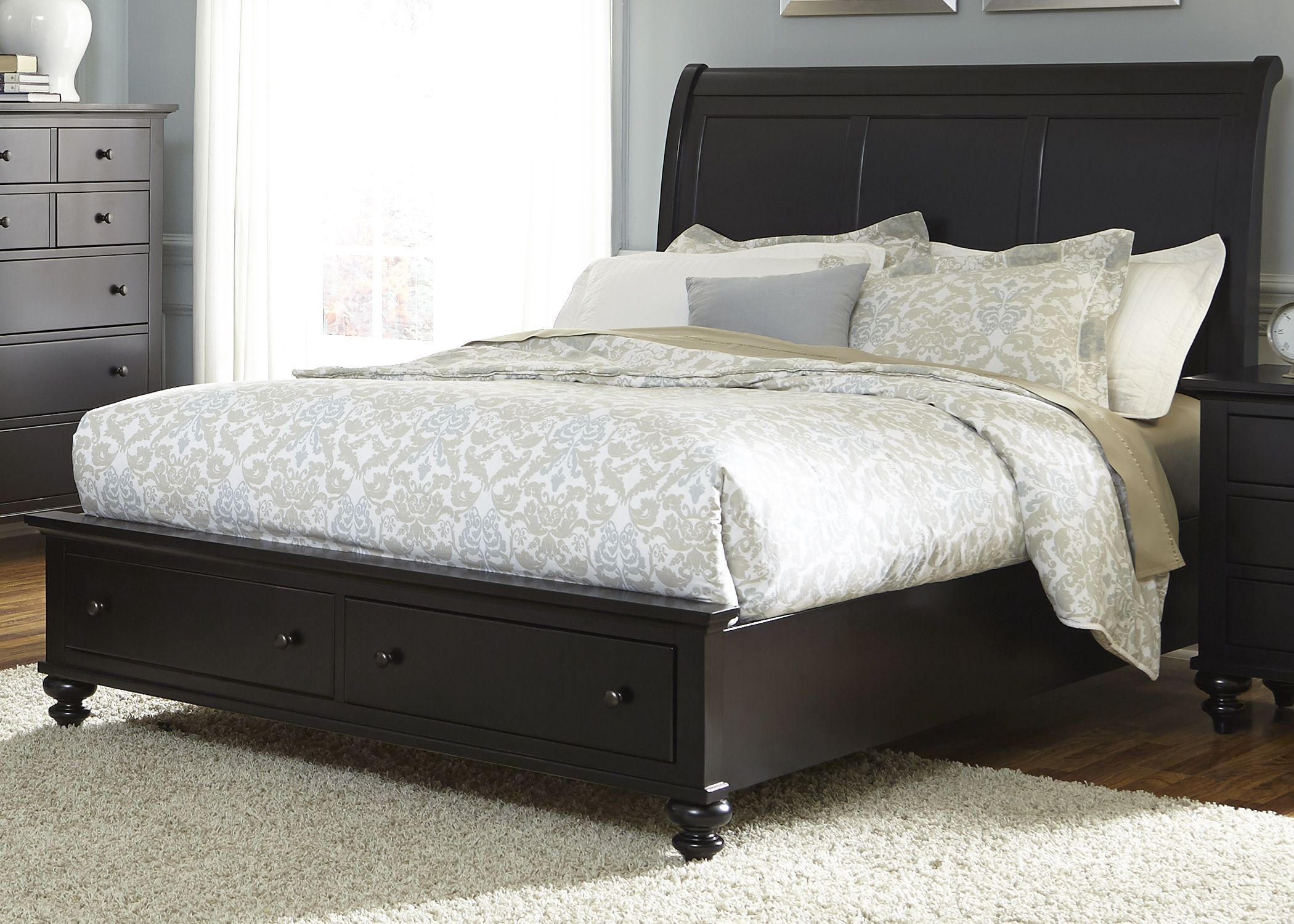 Hamilton iii black king sleigh storage bed from liberty for I furniture hamilton