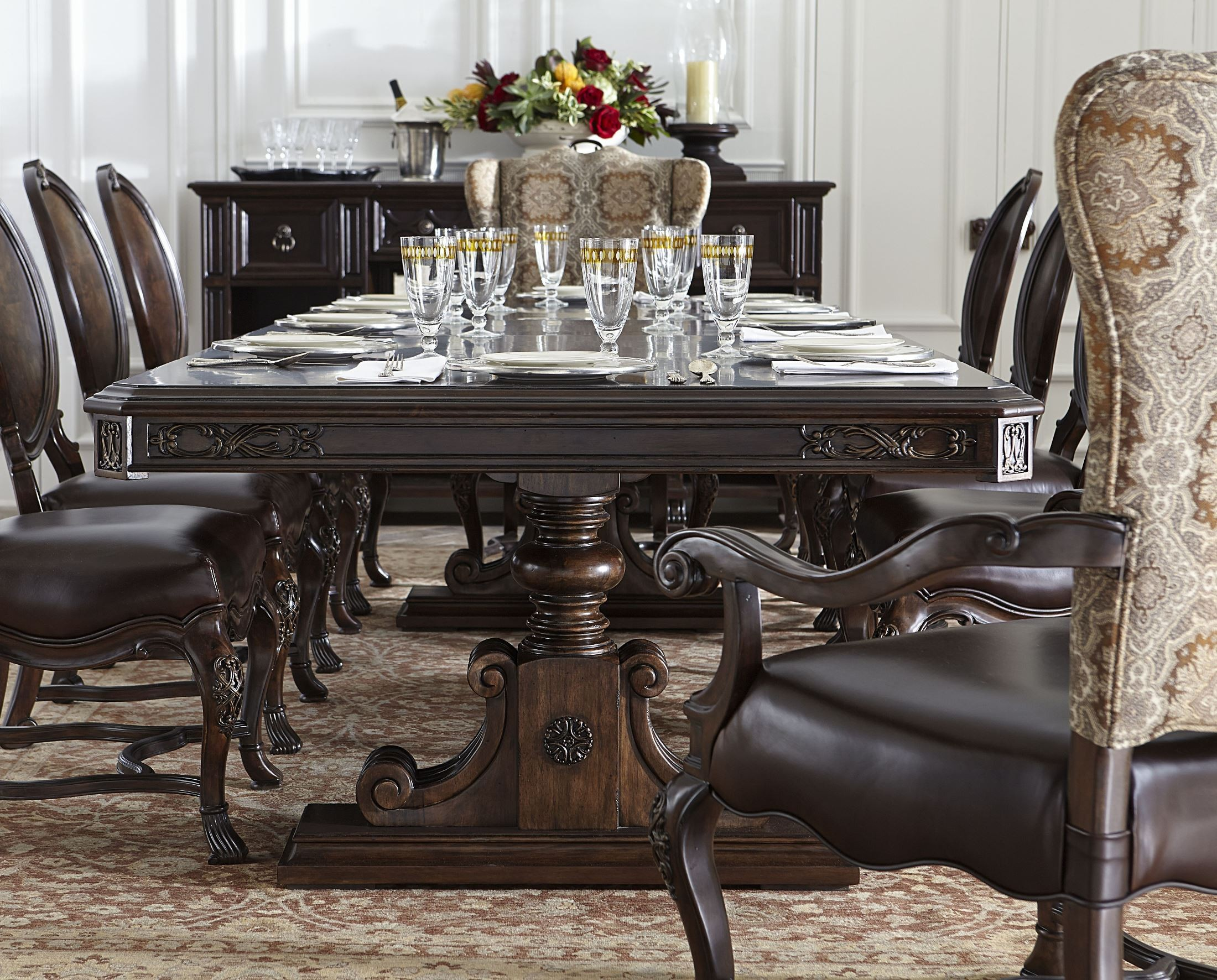 trestle dining room set from stanley 443 11 36 coleman furniture