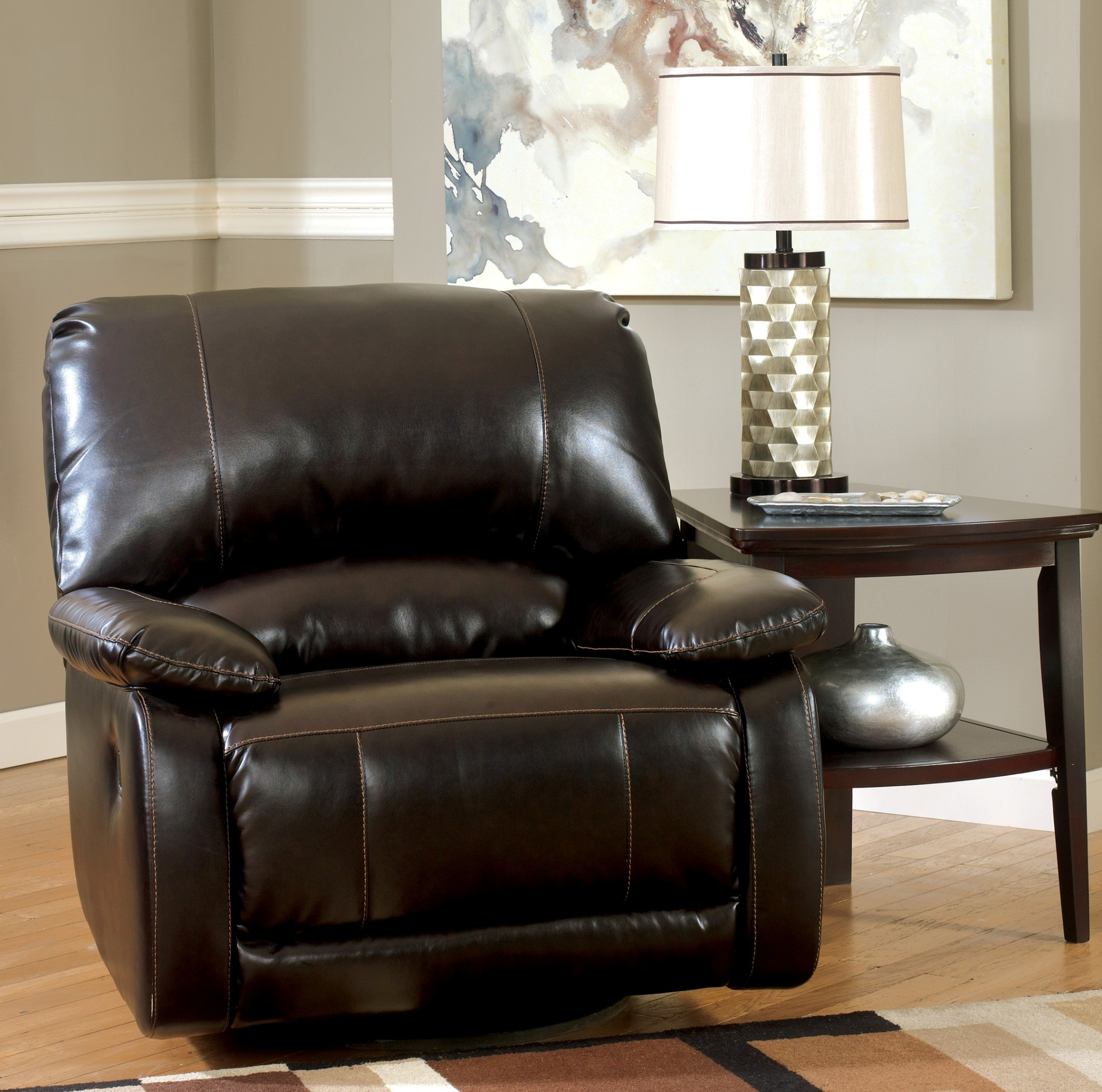 Rollins Cocktail Table By Ashley T628: Capote DuraBlend Chocolate Swivel Glider Recliner From