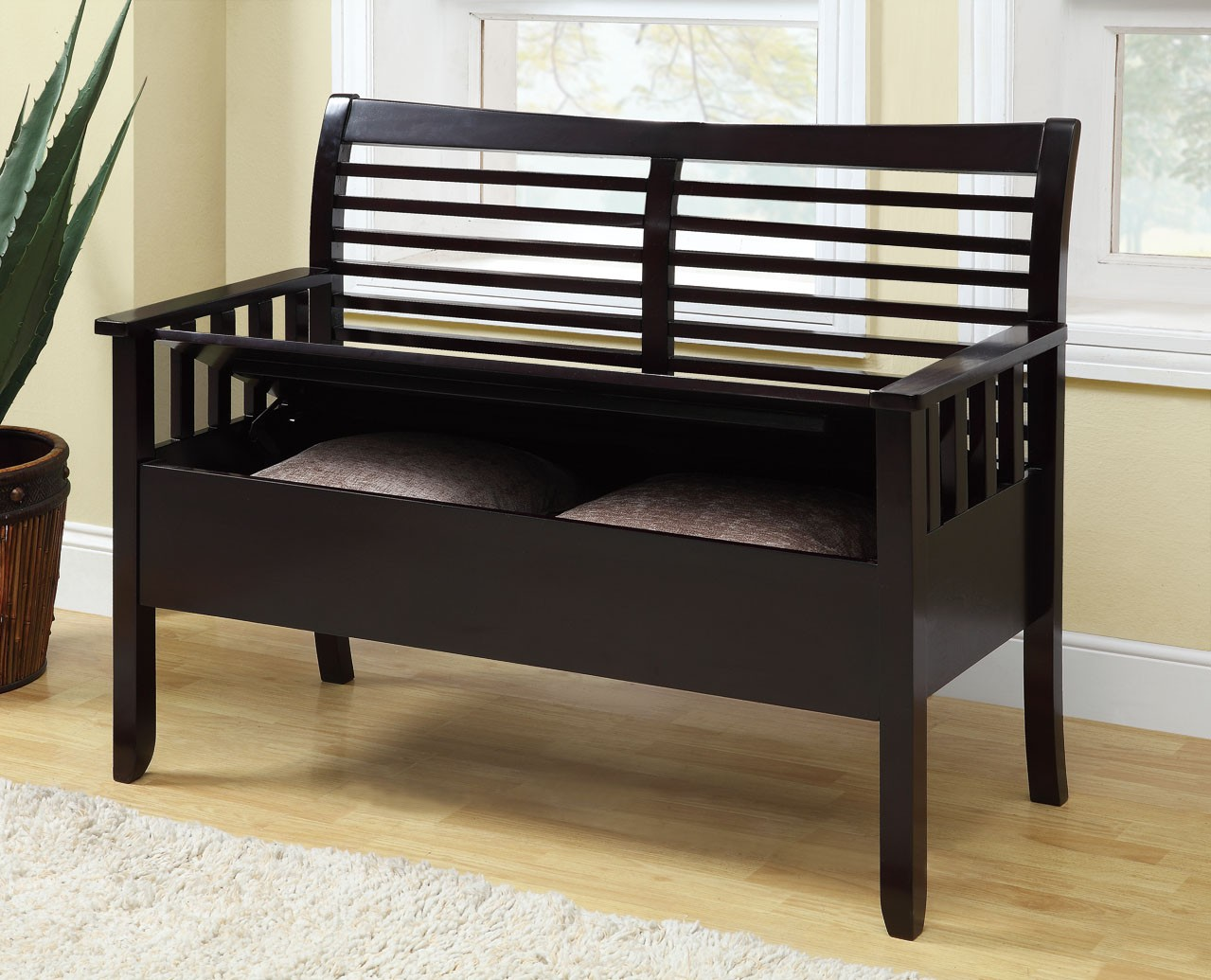 4507 Cappuccino Solid Wood Storage Bench I 4507 Monarch