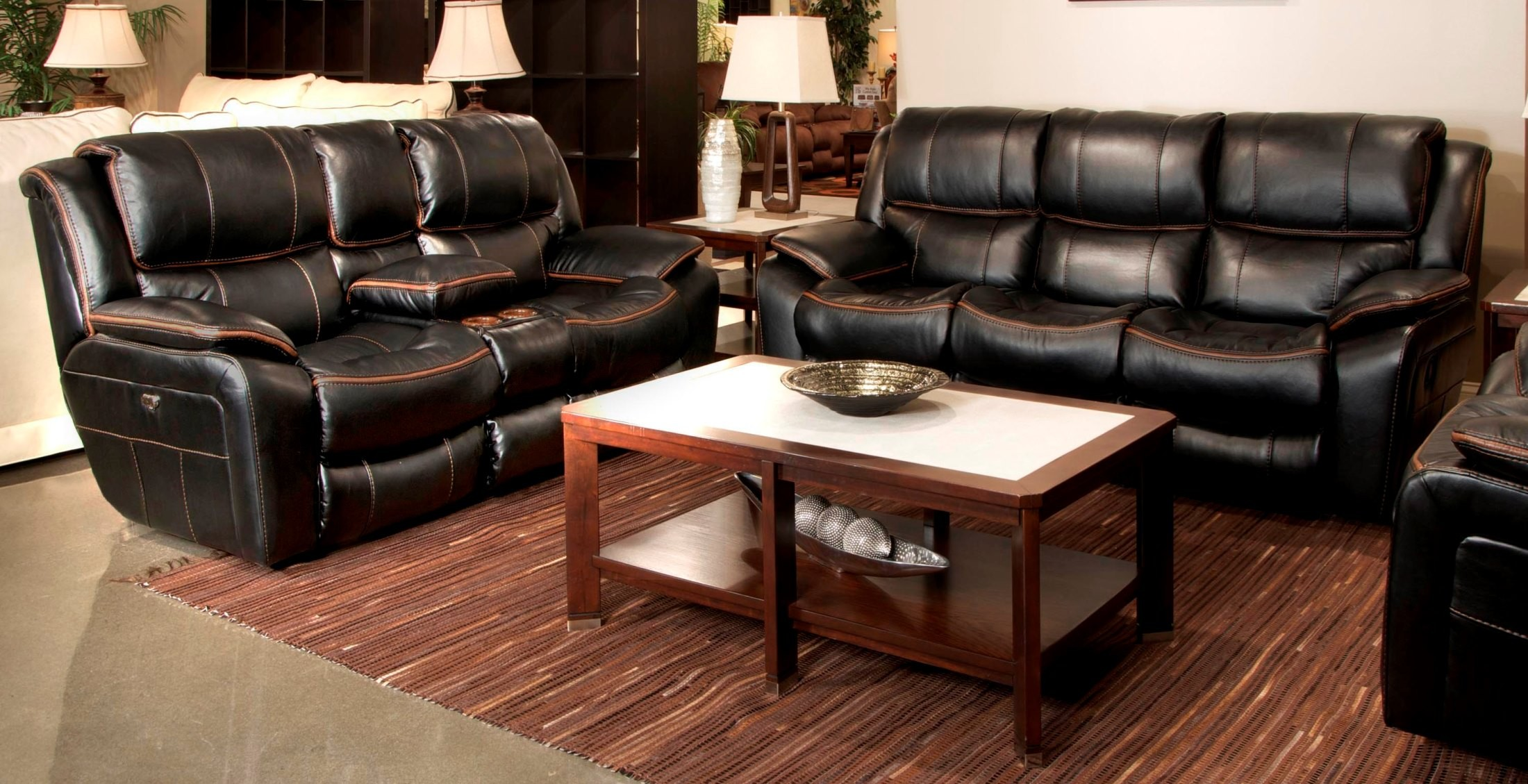 Beckett black power reclining living room set 64511115208 for Black living room furniture sets