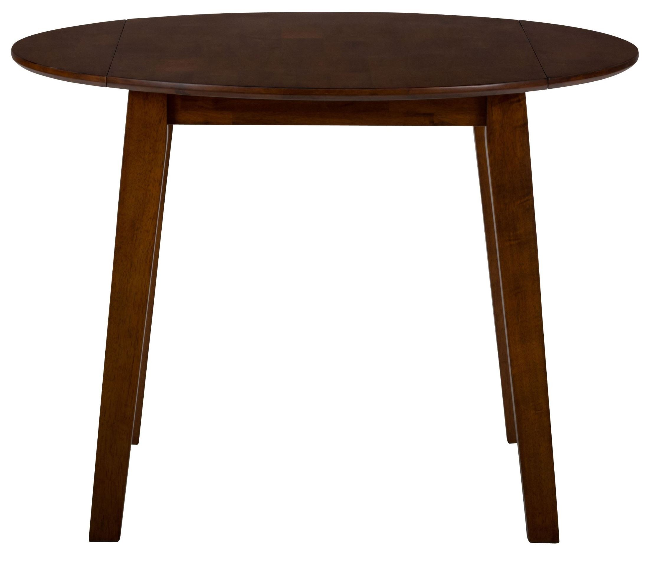 Simplicity caramel extendable round drop leaf dining table for Dining room table replacement leaf