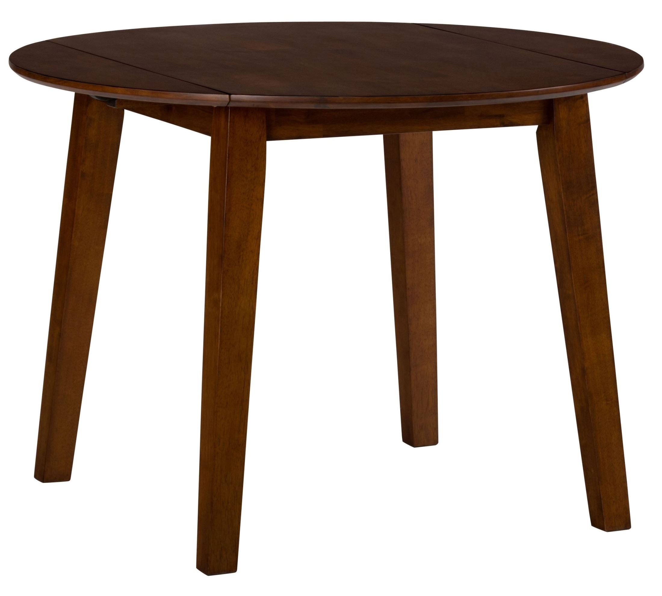 Simplicity caramel extendable round drop leaf dining table for Round drop leaf dining table