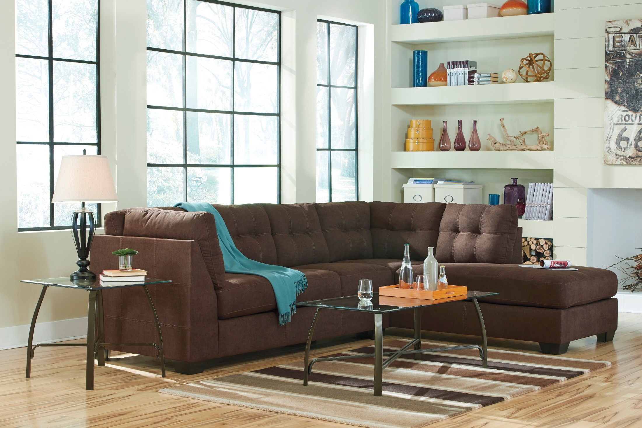 Walnut Living Room Furniture Sets Maier Walnut Raf Sectional From Ashley 45201 17 66 Coleman