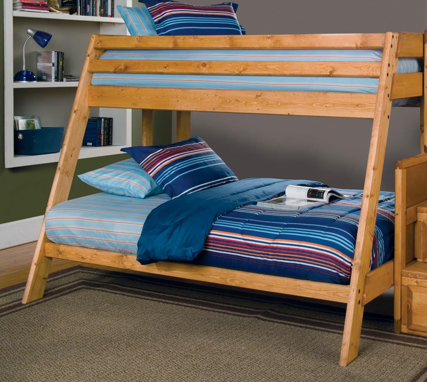 Wrangle Hill Amber Wash Twin Over Full Bunk Bed From