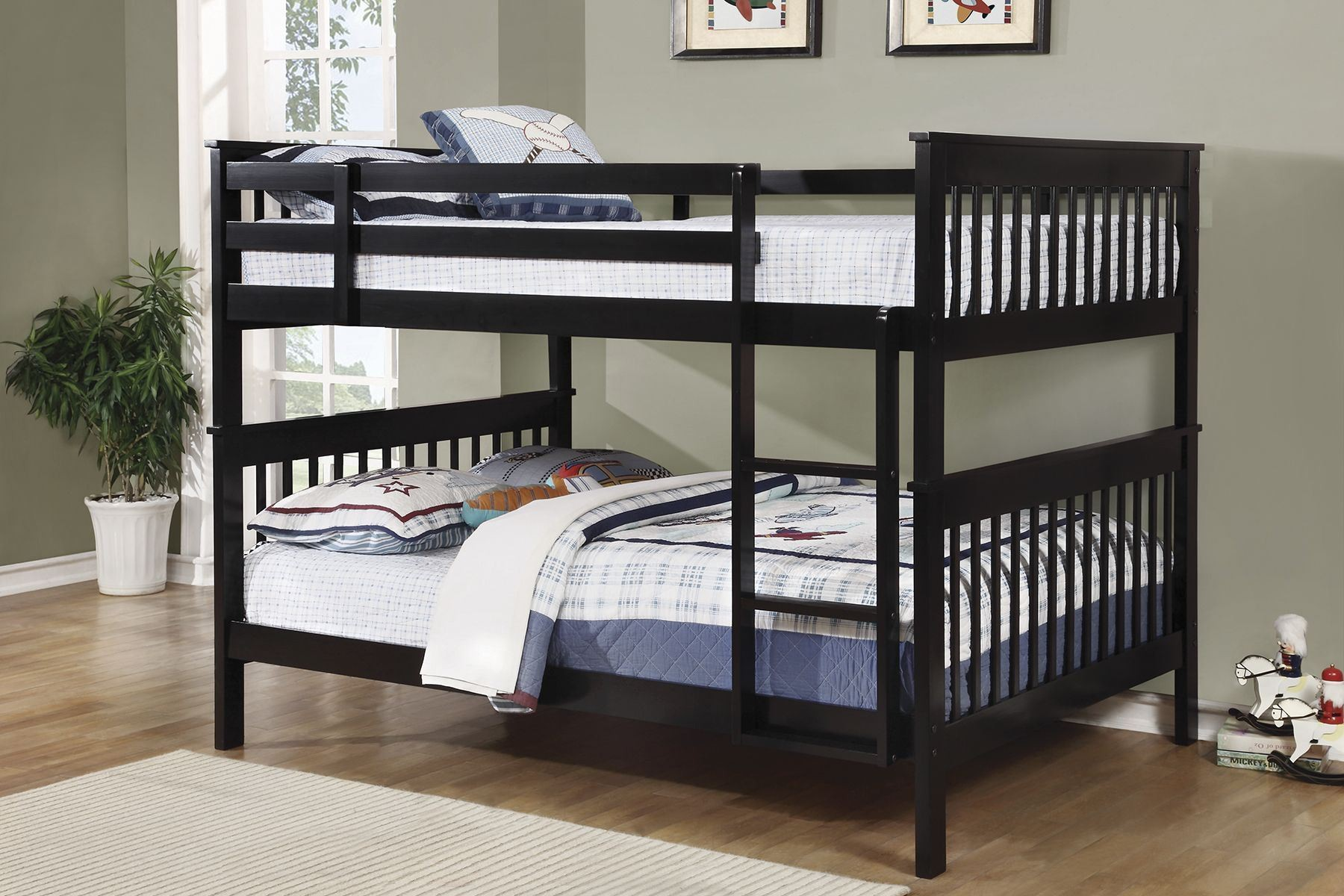 Black full over full bunk bed 460359 coaster furniture for Bunk bed and bang