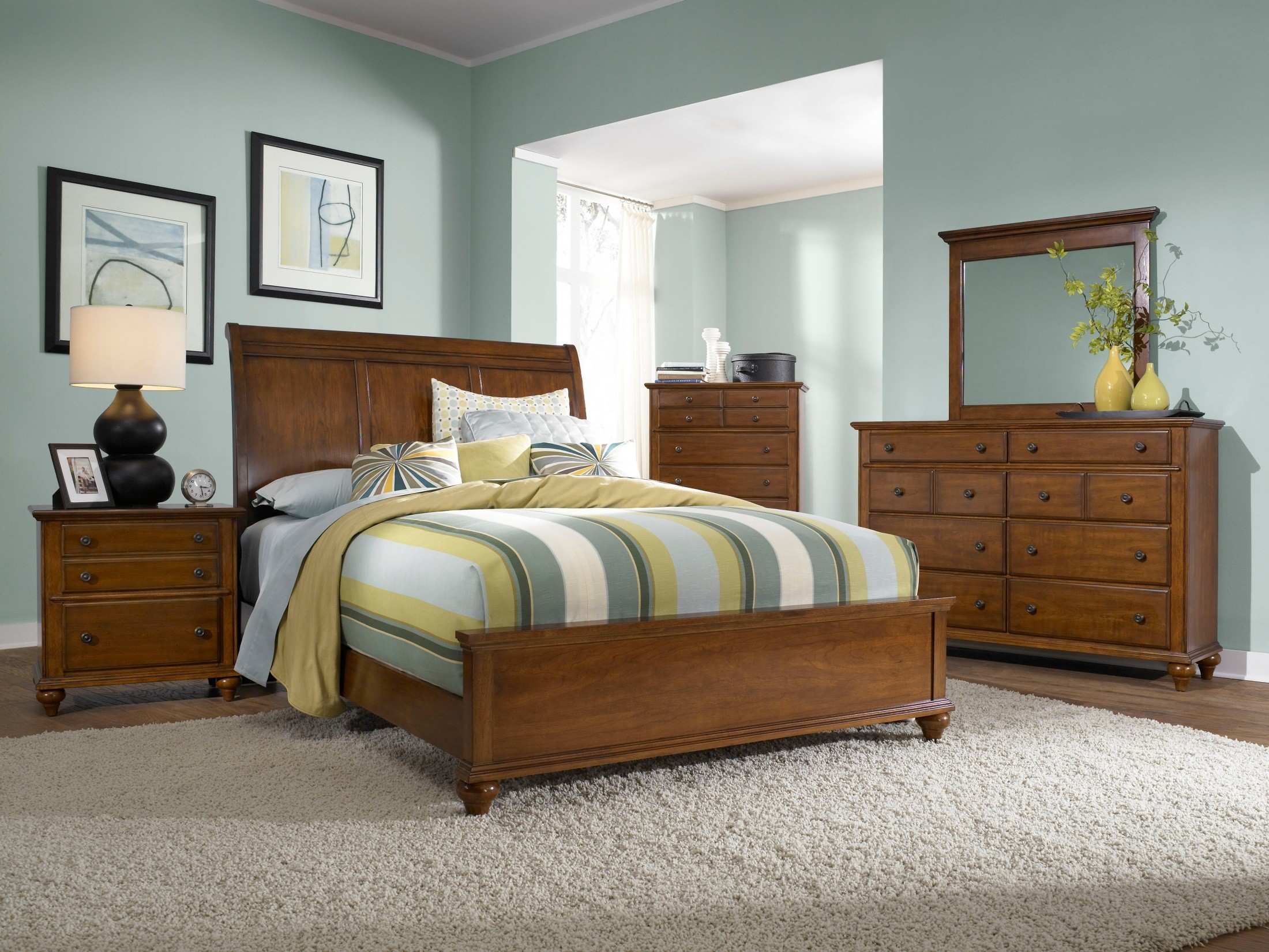 Hayden place light cherry sleigh bedroom set from broyhill - Broyhill hayden place bedroom set ...