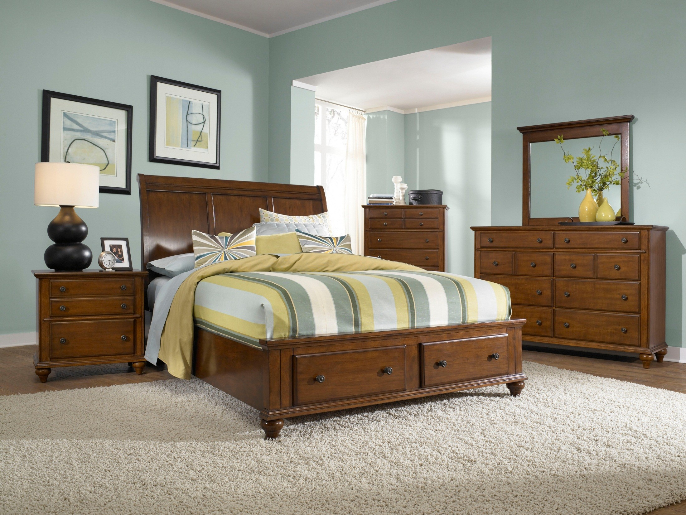 Hayden place light cherry king sleigh storage bed from - Broyhill hayden place bedroom set ...