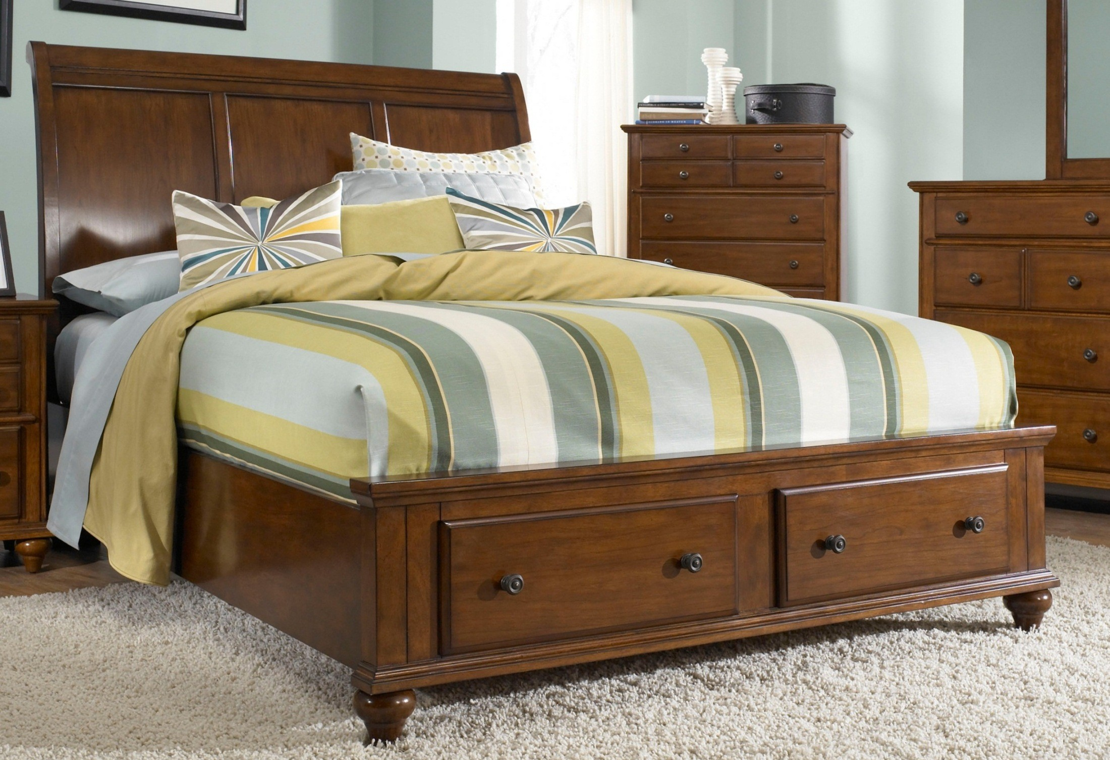 Hayden Place Light Cherry King Sleigh Storage Bed From