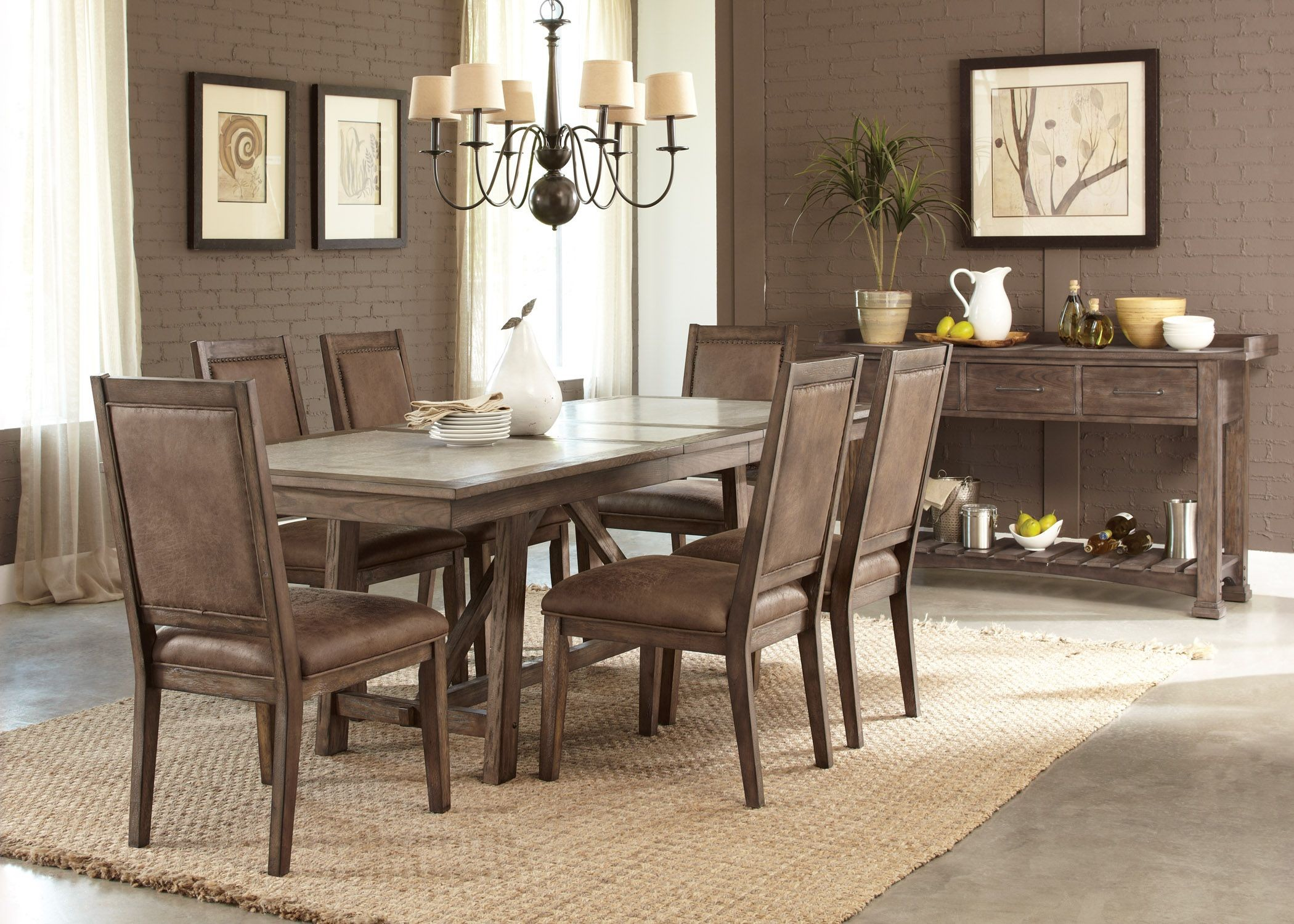 Stone brook trestle dining room set from liberty 466 for Dining room sets for 8