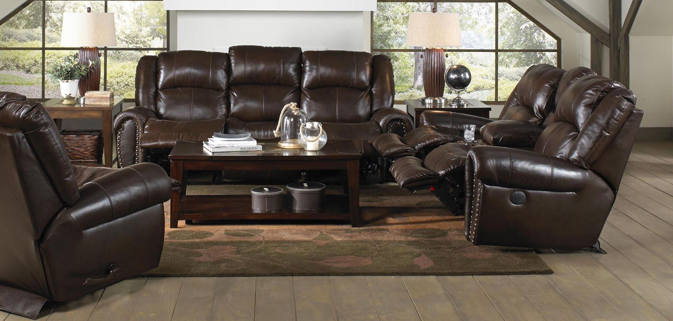 Jordan tobacco reclining living room set from catnapper