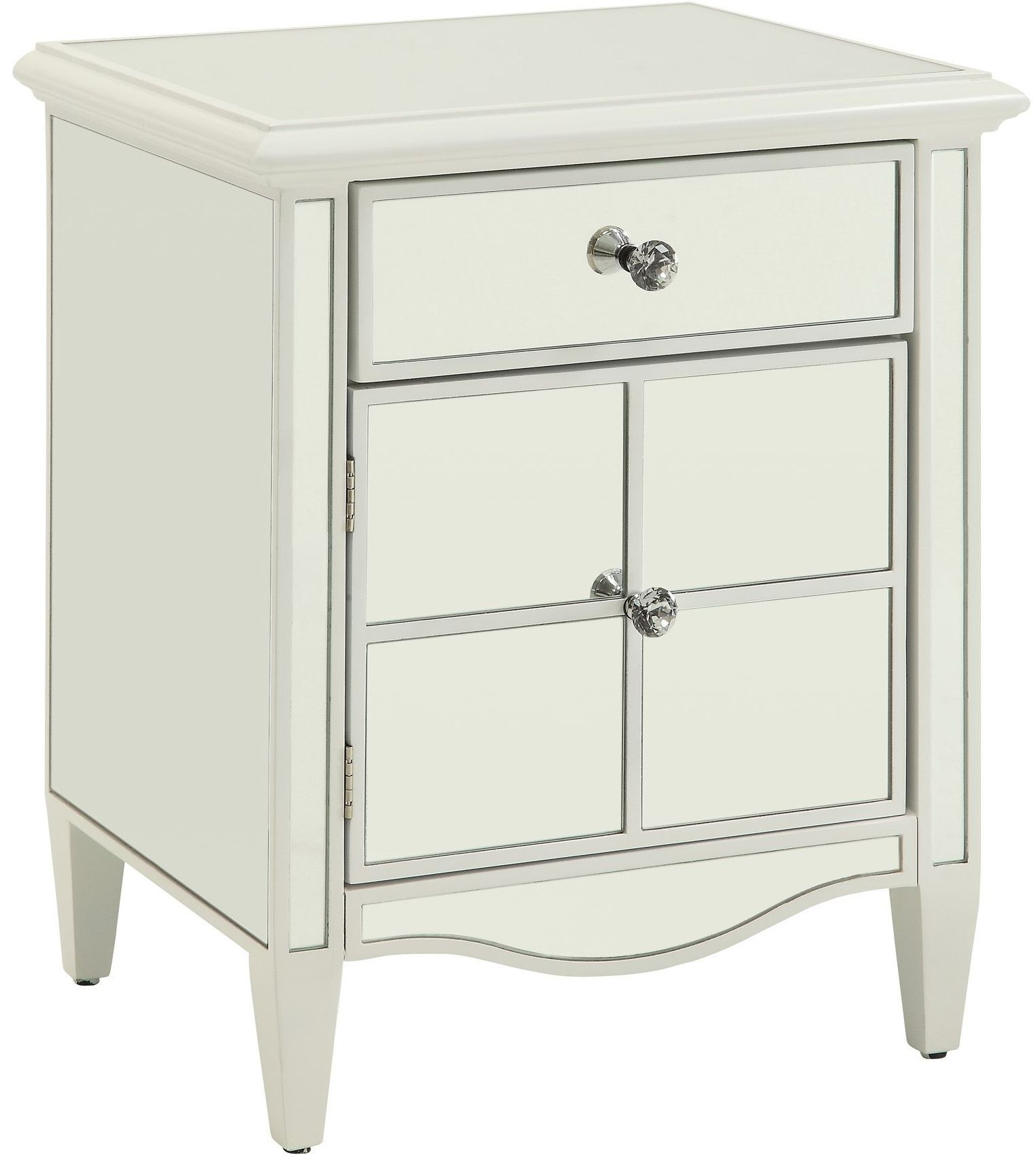 Luciana white 20 5 mirrored cabinet 4682wt sm homelegance for White mirrored cabinet