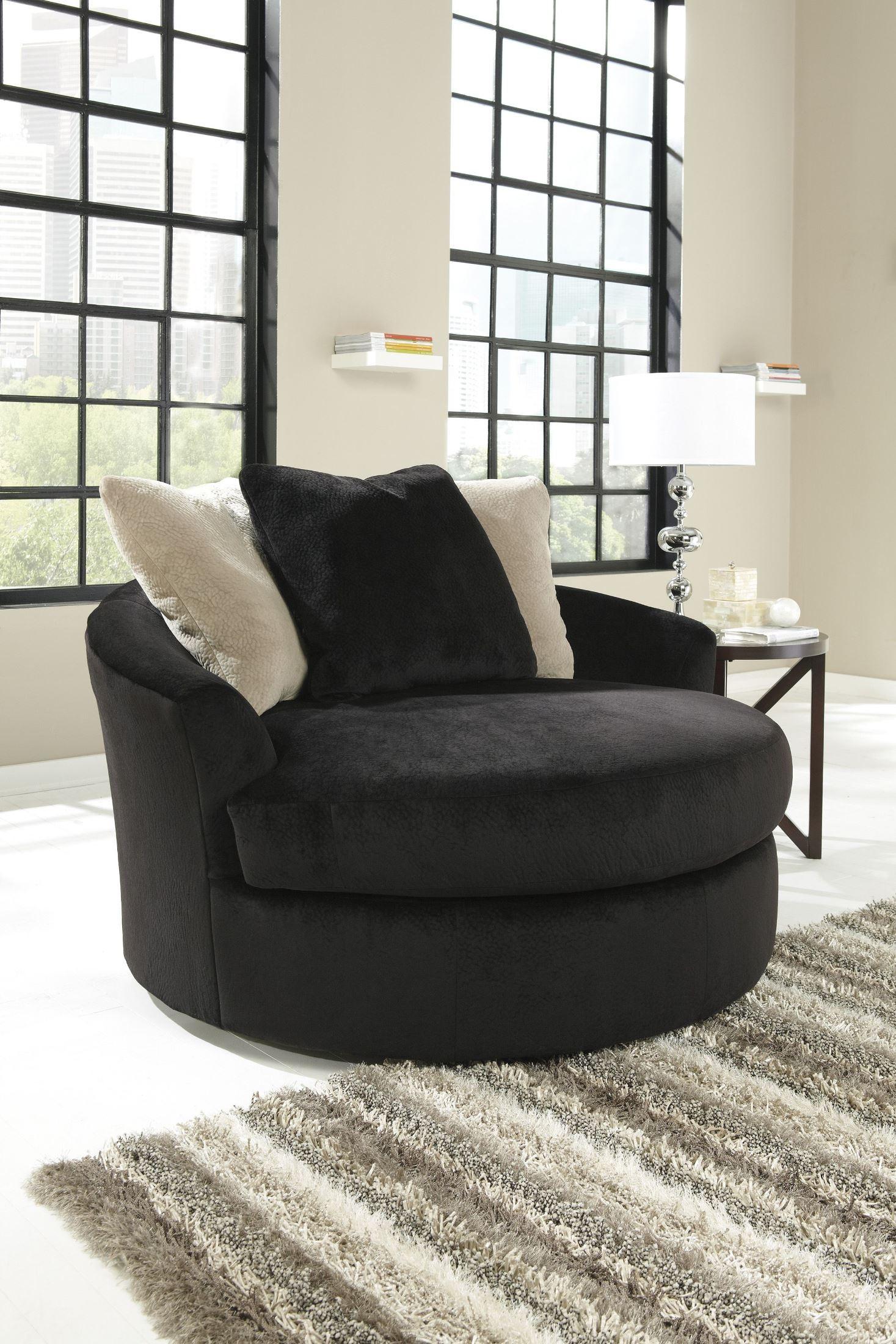 Ashley oversized swivel accent chair - Heflin Ebony Oversized Swivel Accent Chair 4720021 Ashley Furniture