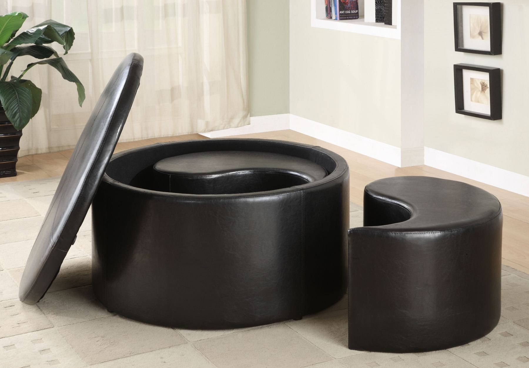 Houston Round Storage Cocktail Table With 2 Kidney Ottomans From Homelegance 4722pu Coleman