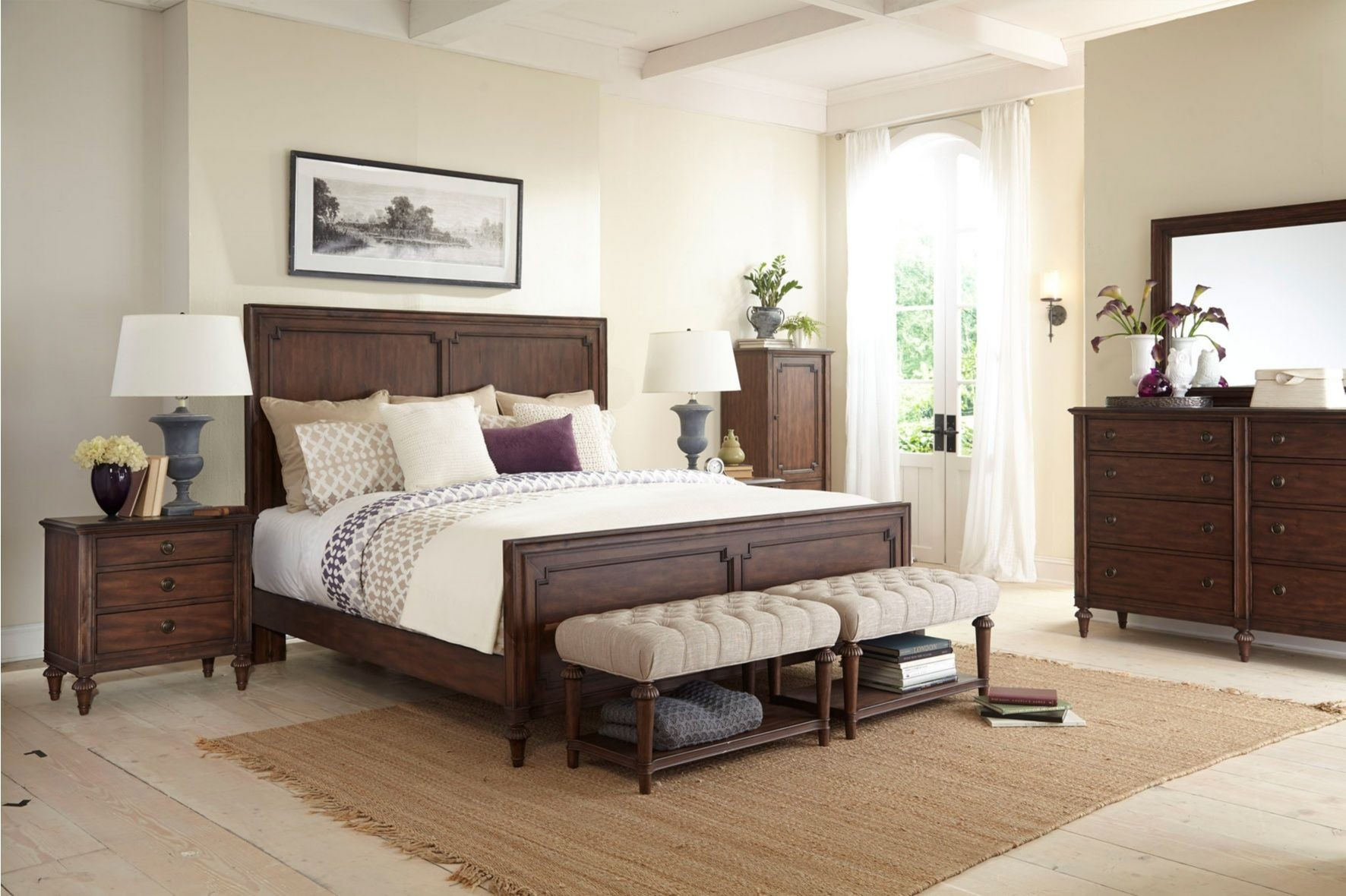 cranford queen panel bed from broyhill 4800 256 257 450 coleman furniture. Black Bedroom Furniture Sets. Home Design Ideas