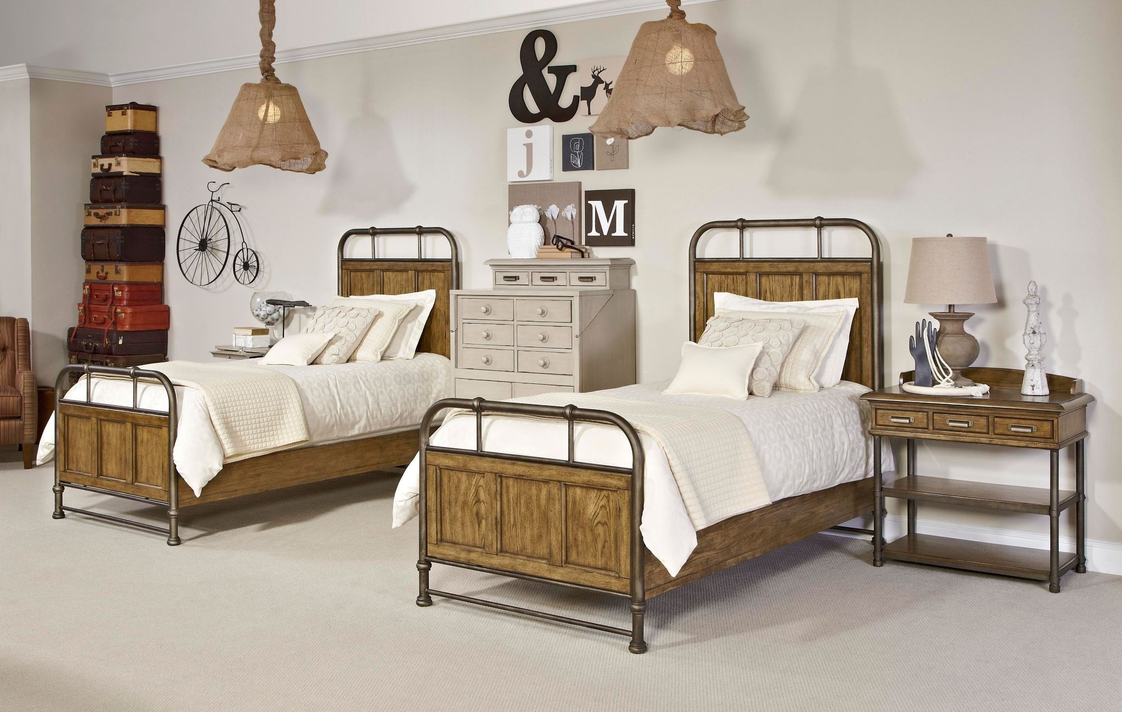 New Vintage Brown Youth Metal Wood Bedstead Bedroom Set From Broyhill 4808 2