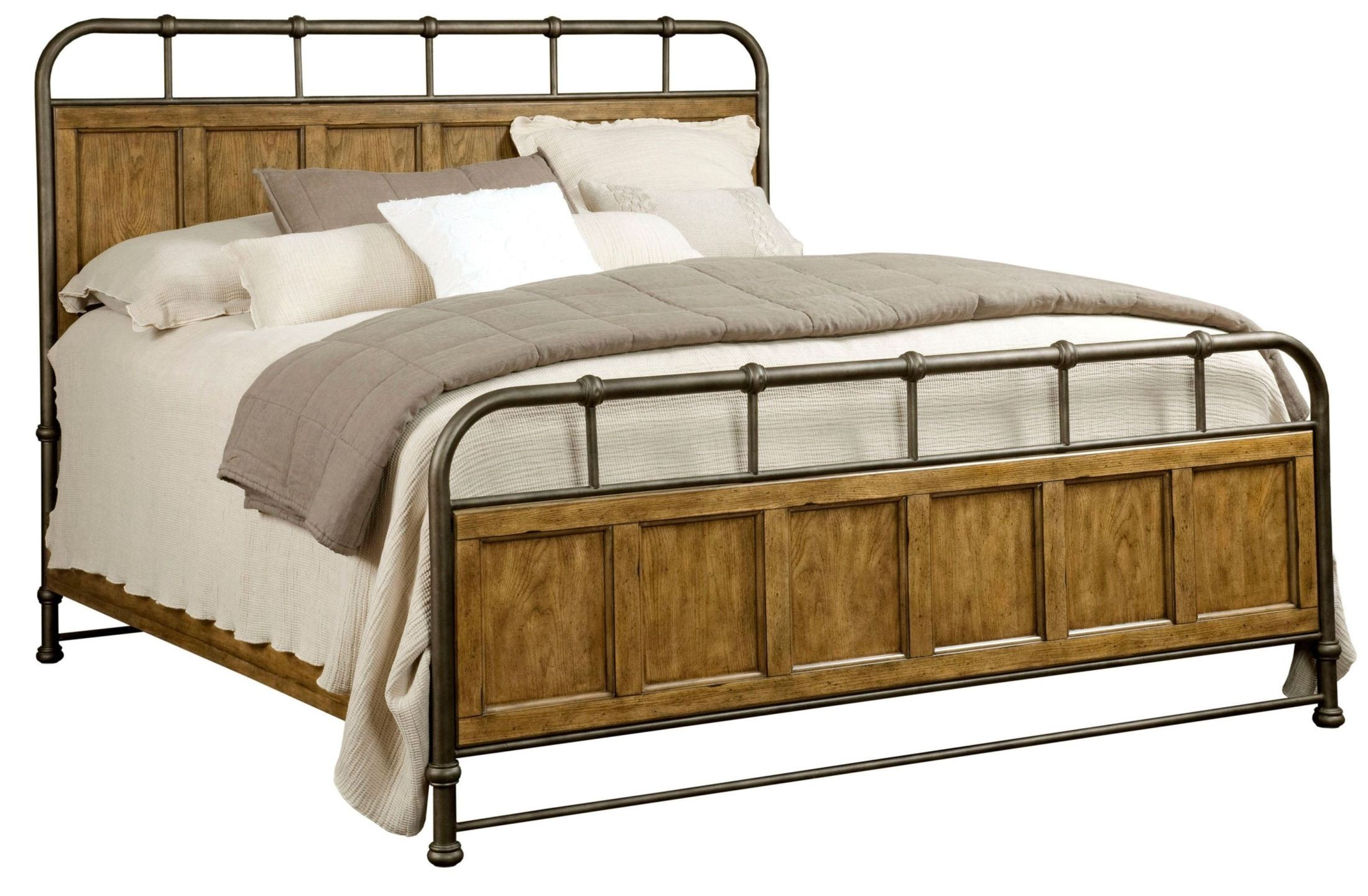 new vintage brown king metal wood bedstead bed from broyhill 4808 252 253 455 coleman furniture. Black Bedroom Furniture Sets. Home Design Ideas