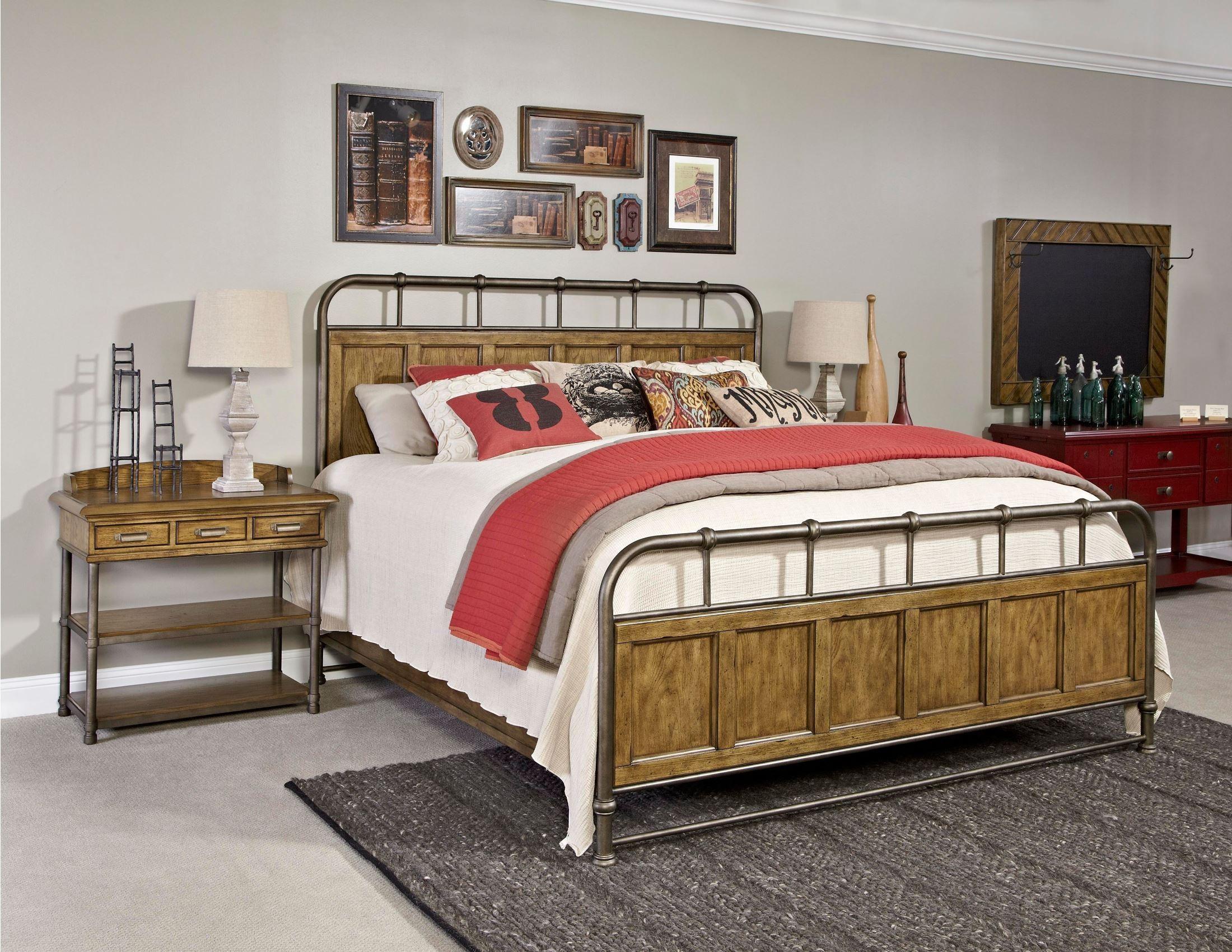 New Vintage Brown Metal Wood Bedstead Bedroom Set From Broyhill 4808 250 251 450 Coleman