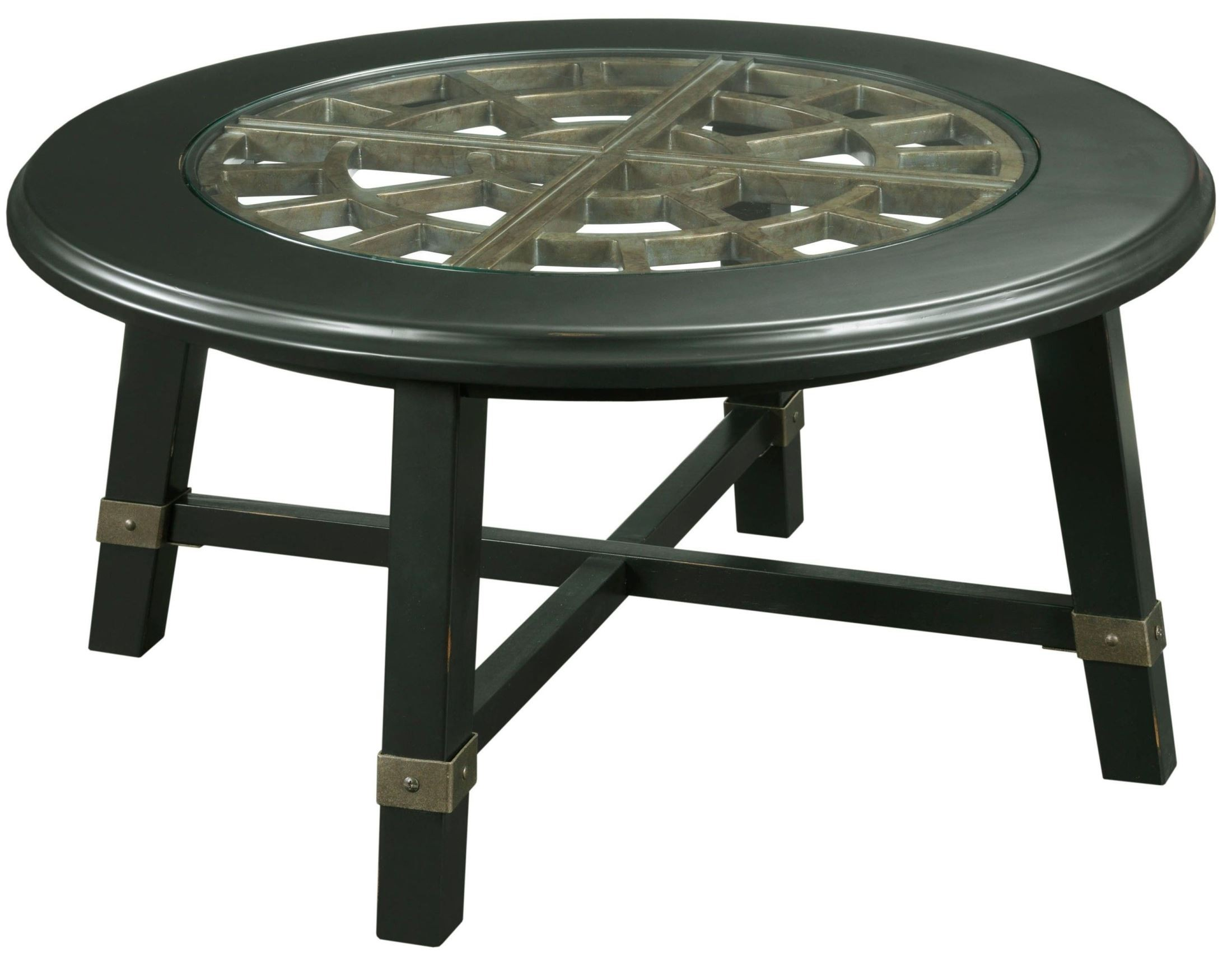 New Vintage Black Round Grid Cocktail Table From Broyhill 4809 003 Coleman Furniture