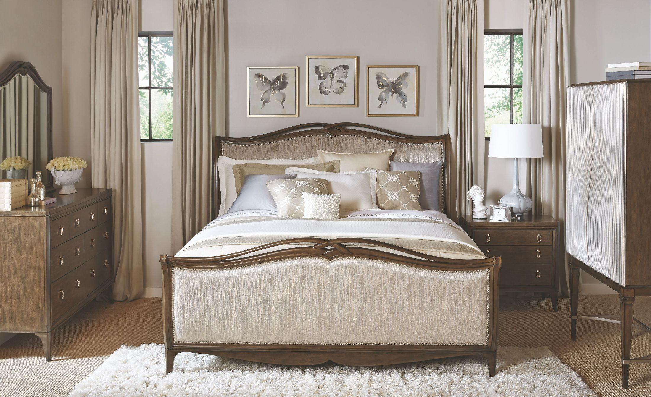 Cashmera rich truffle upholstered sleigh bedroom set 4860 270 271 460 broyhill for Upholstered sleigh bedroom set