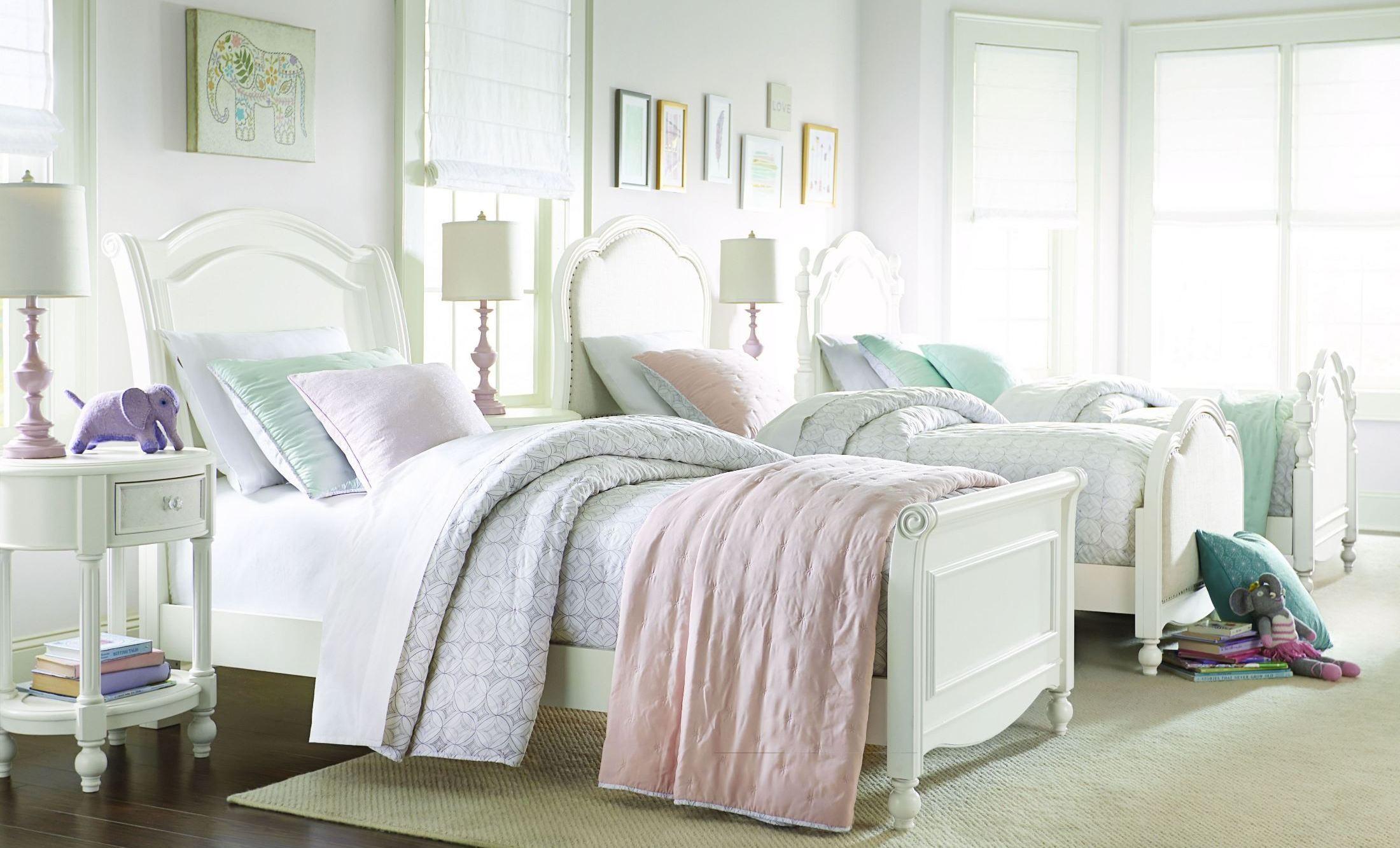 harmony antique linen white youth chelsea sleigh bedroom