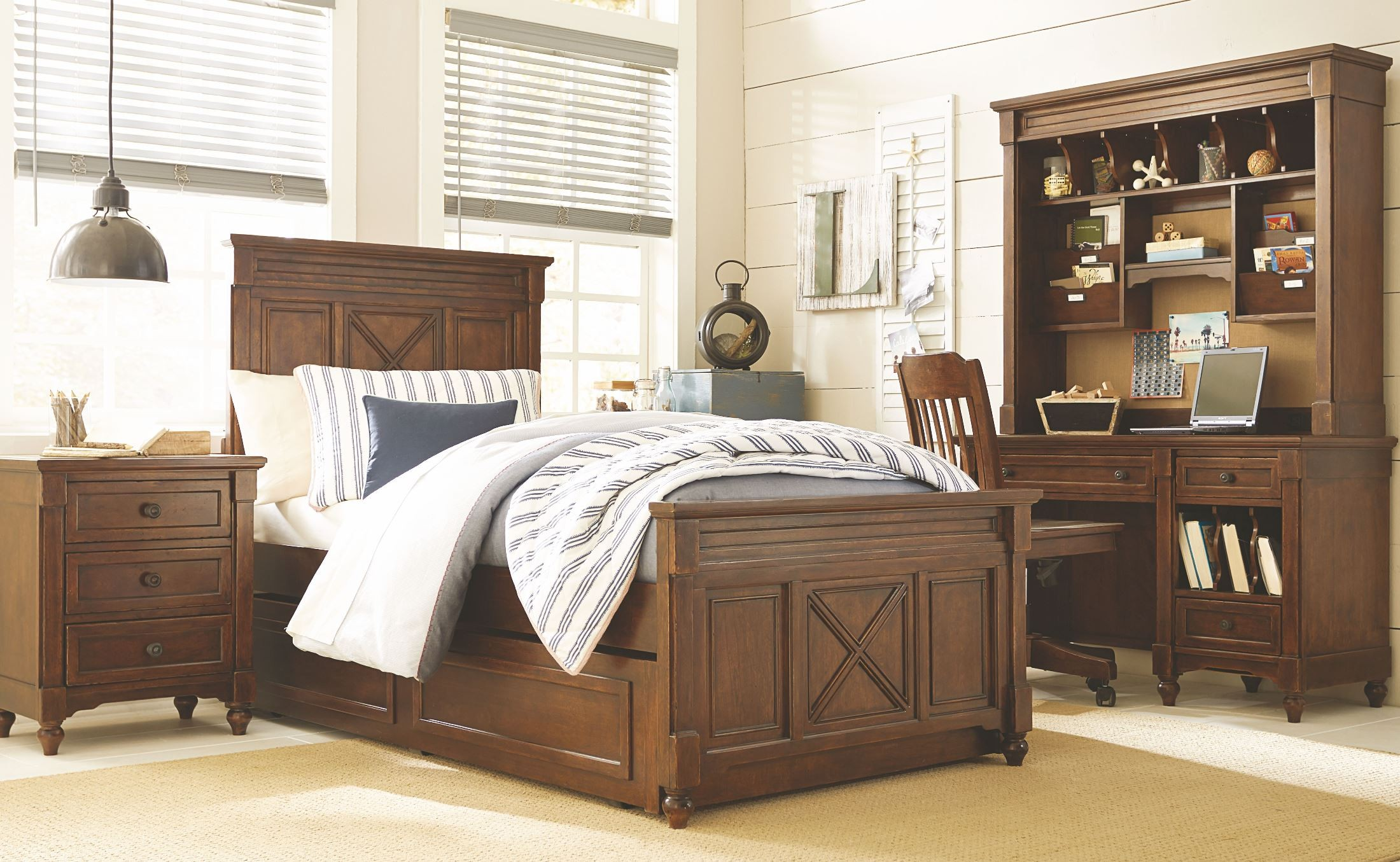 Big sur saddle brown drawer dresser with hutch from