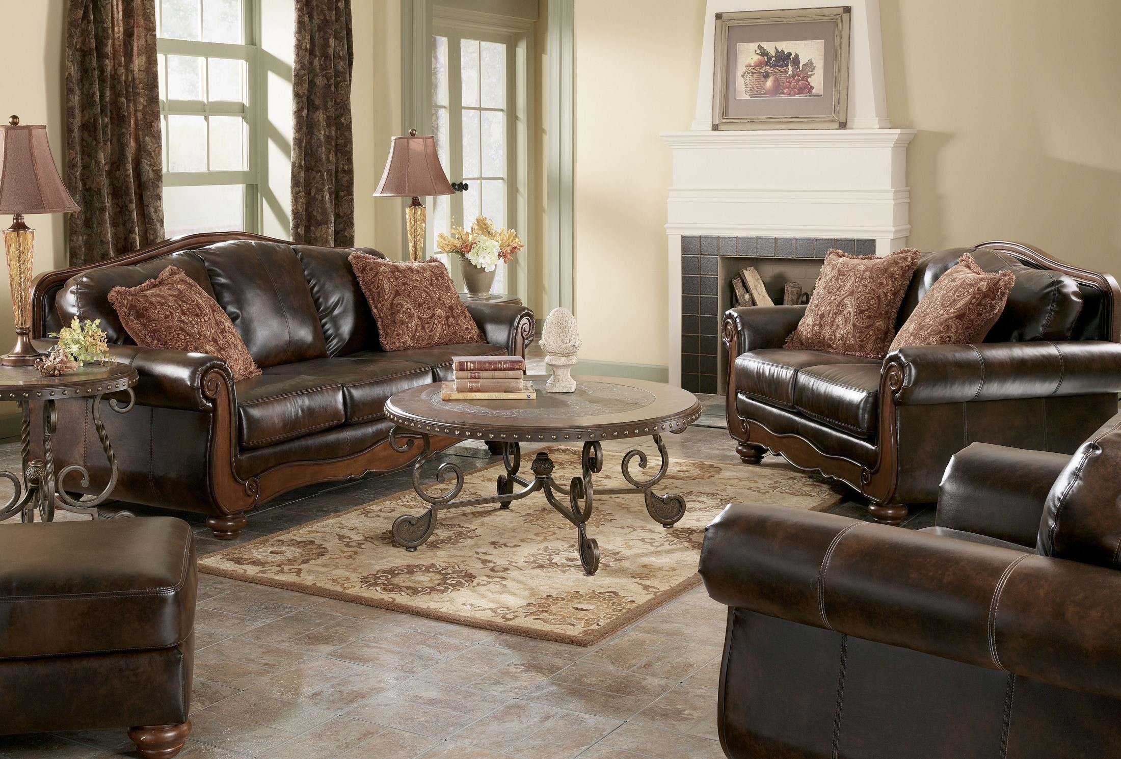 barcelona antique living room set from ashley 55300 coleman