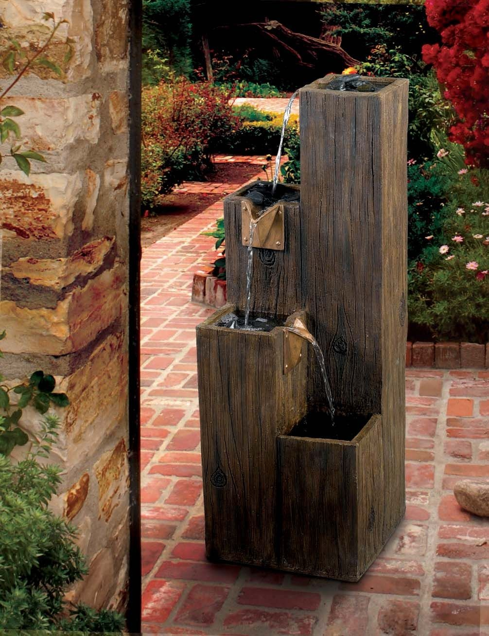 Timber indoor outdoor floor fountain from kenroy 50007wdg for Indoor outdoor wood flooring