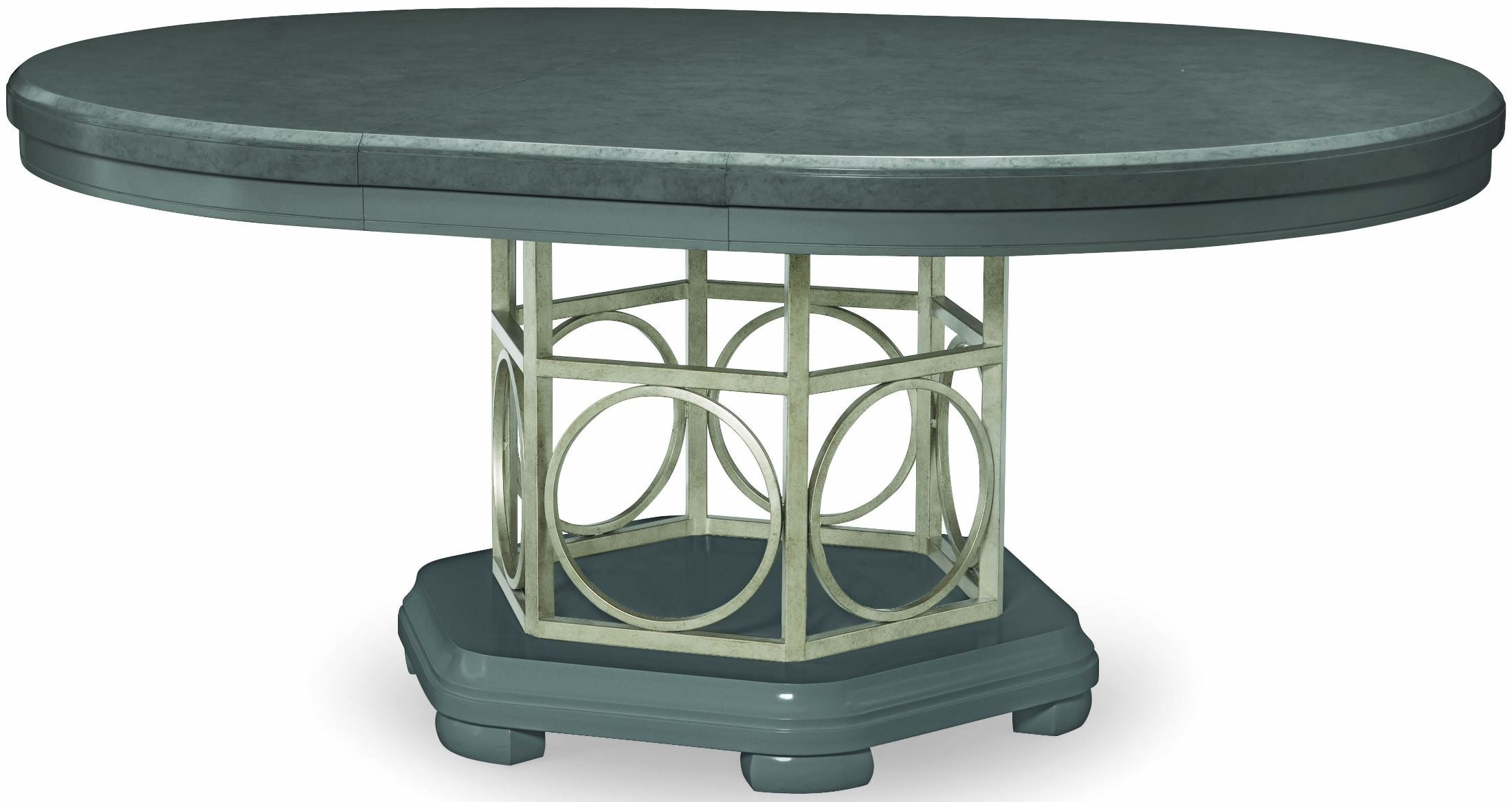 tower suite moonstone extendable round pedestal dining table from