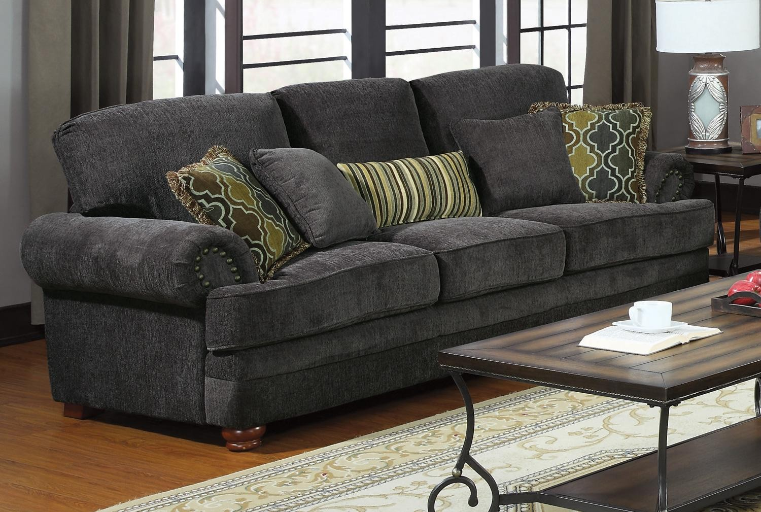 Colton grey sofa from coaster 504401 coleman furniture for Couch 0 finanzierung