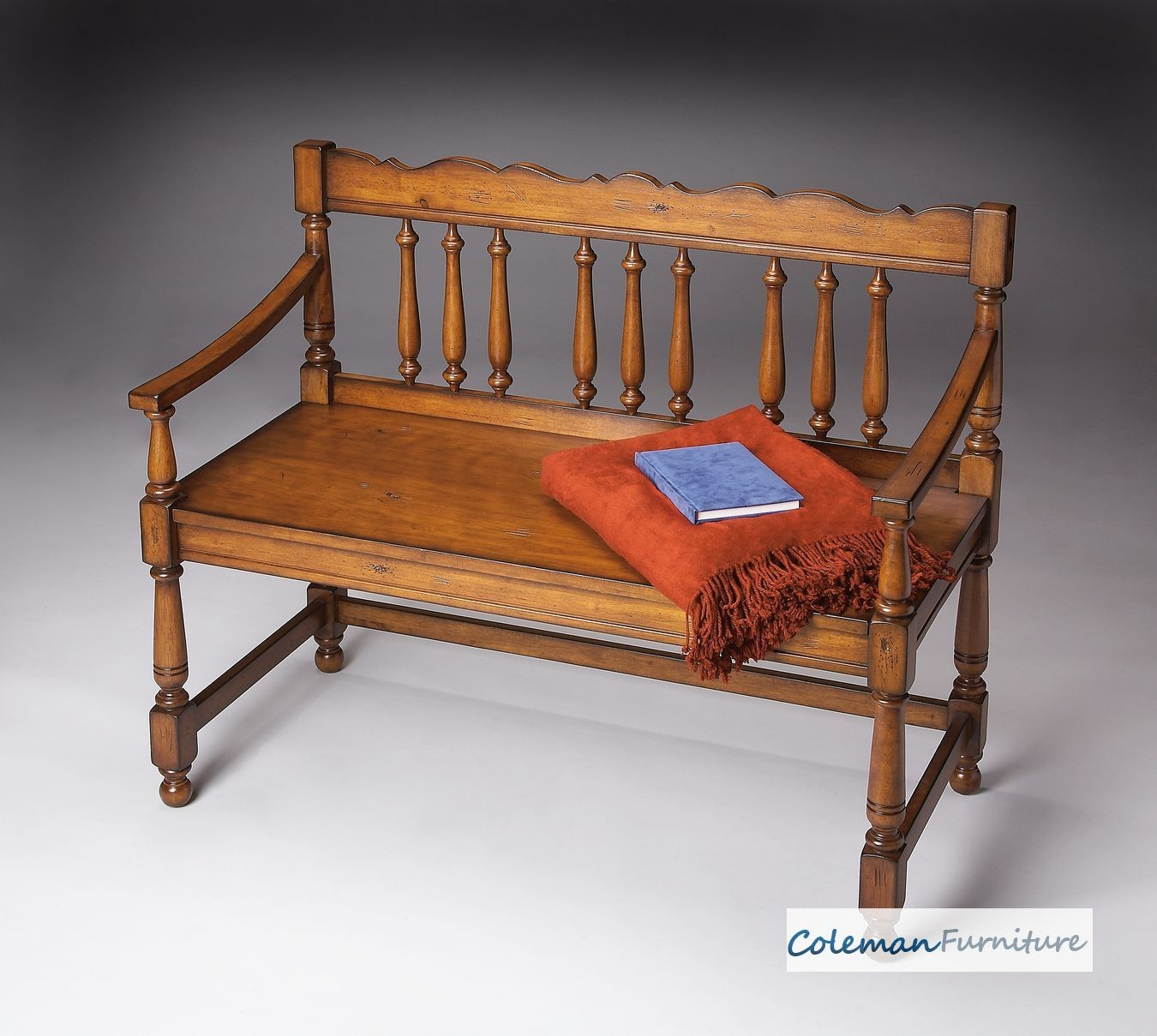 Old World Cherry Bench From Butler 5049102 Coleman