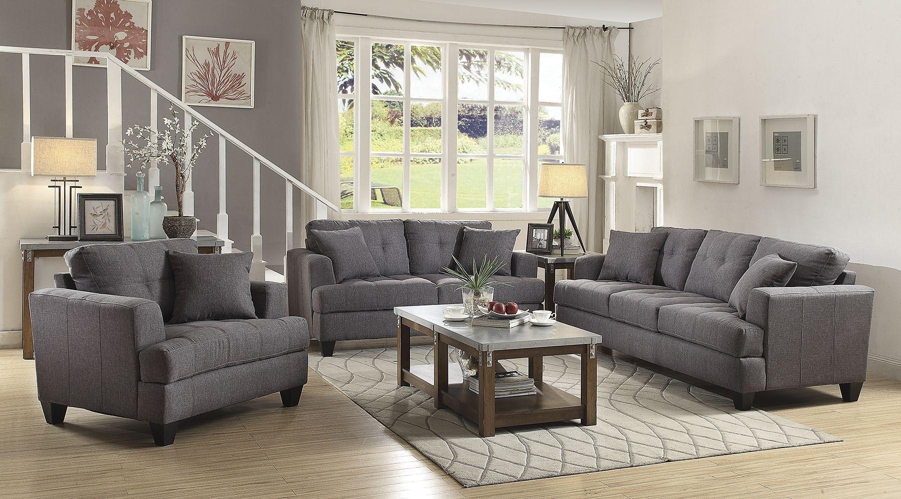 Samuel gray living room set 505175 coaster furniture for Grey front room furniture