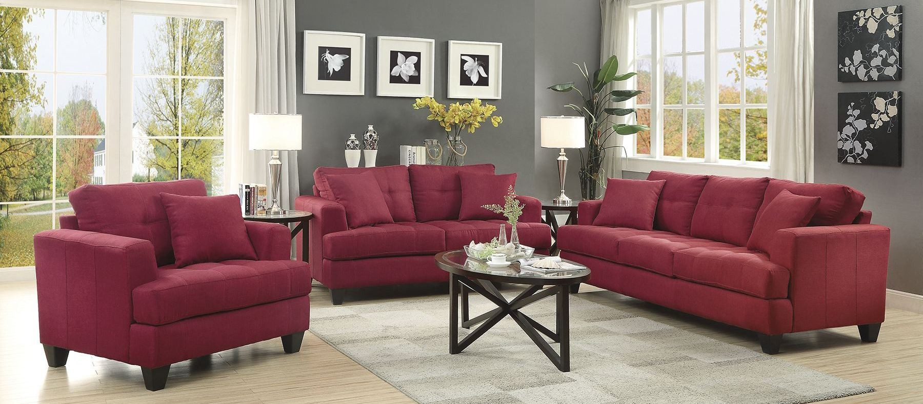 samuel red living room set 505185 coaster furniture. Black Bedroom Furniture Sets. Home Design Ideas