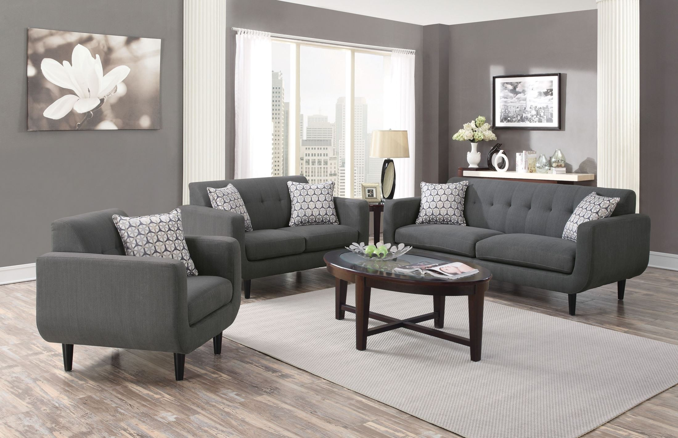 Stansall grey living room set 505201 coaster for Living room furniture images