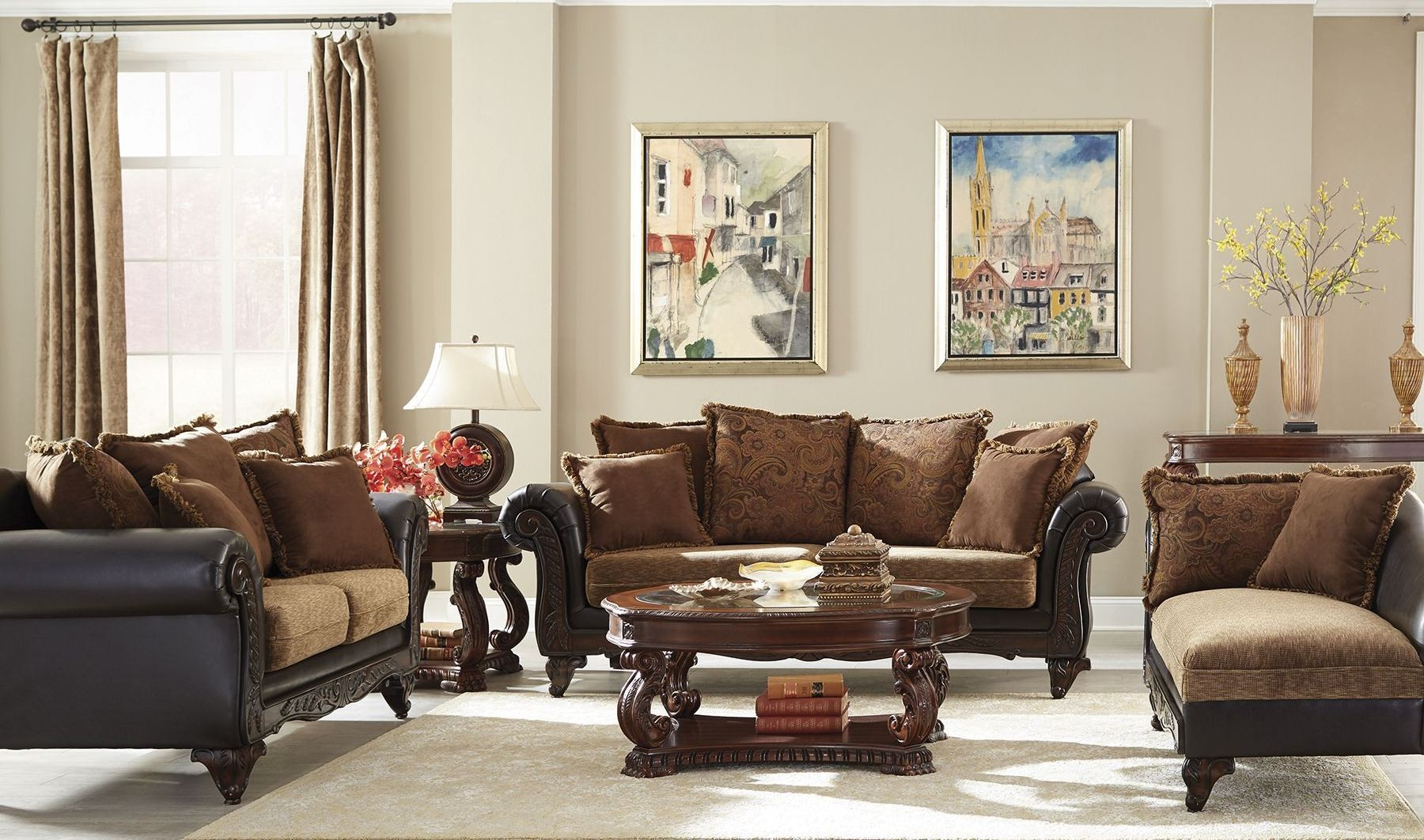 garroway russet chocolate living room set 505231 coaster furniture