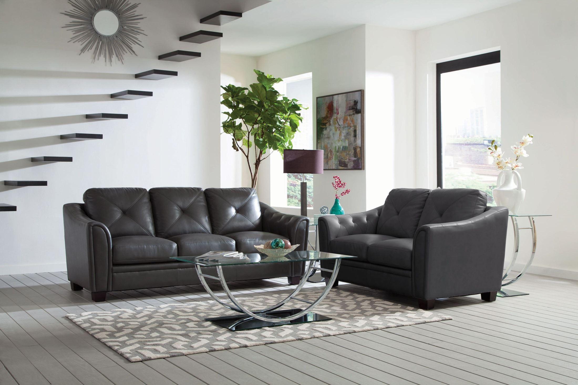 Avison grey living room set 505291 coaster furniture for Grey front room furniture