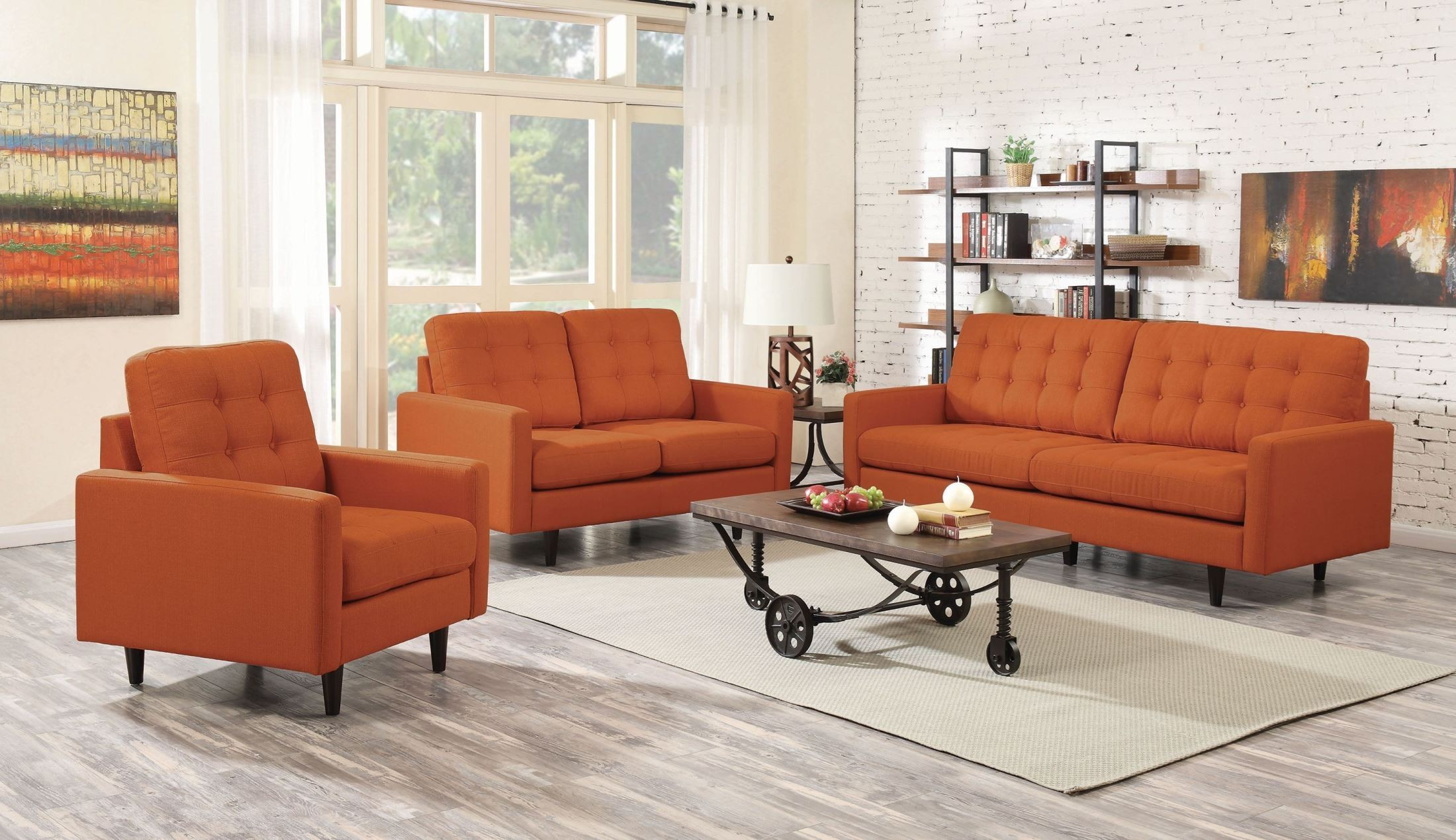 Kesson orange living room set 505371 coaster furniture for Front room furniture sets