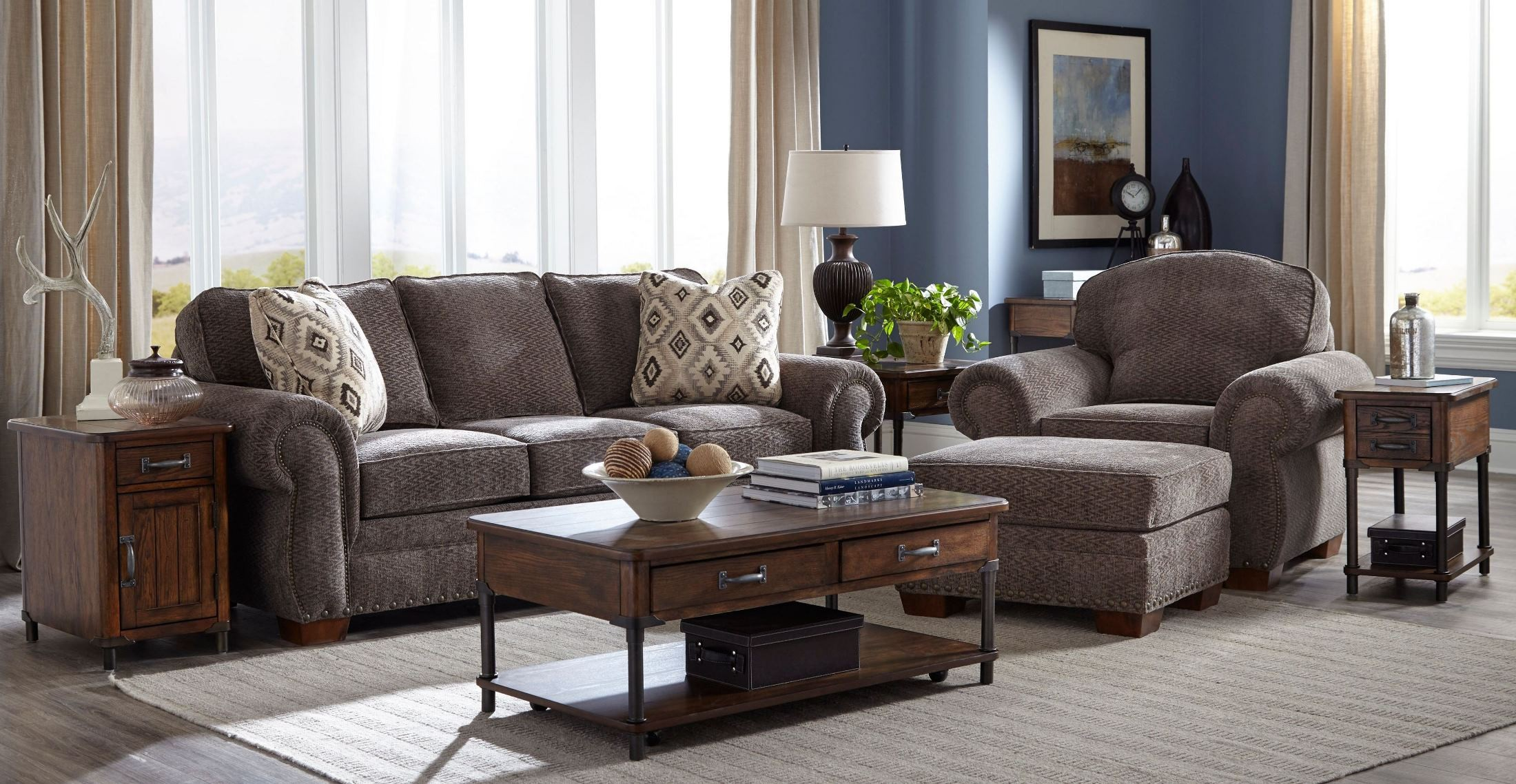 Cambridge Walnut Chenille Fabric Living Room Set 5054 3q2 4247 93 Broyhill