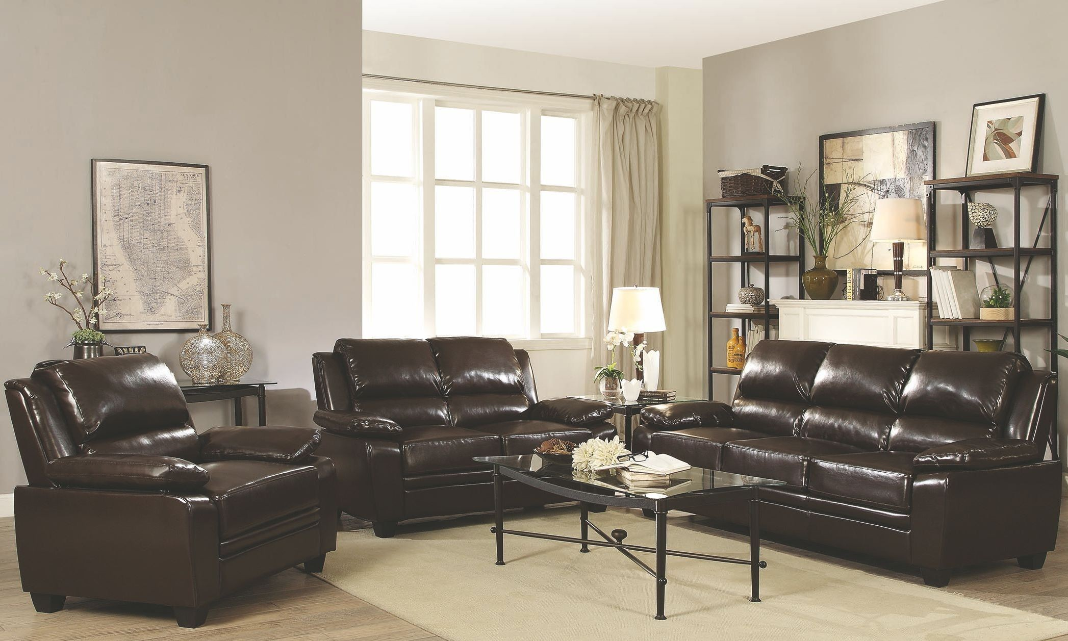 Gryffin dark brown living room set 505561 coaster furniture for Dark brown living room set