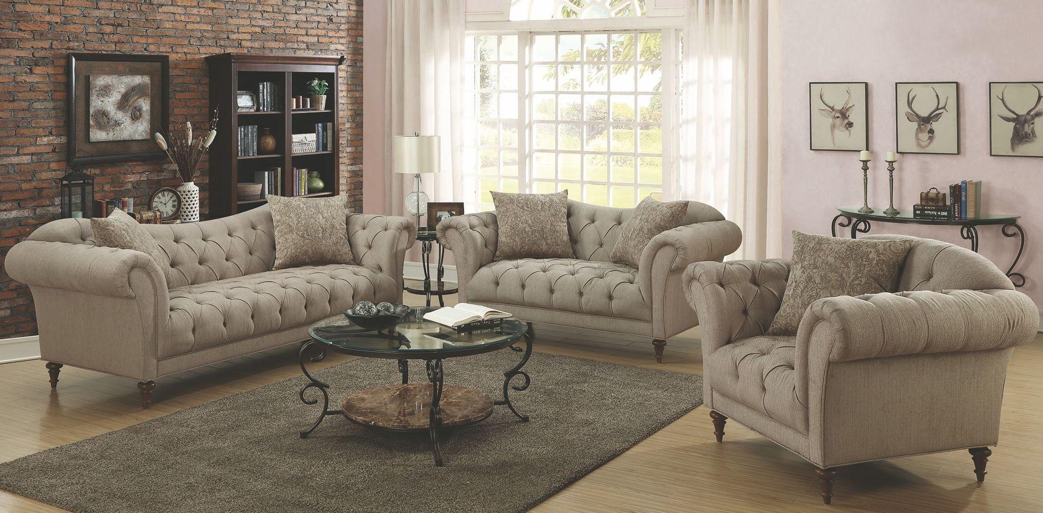 Alasdair light brown living room set 505571 coaster for Front room sets