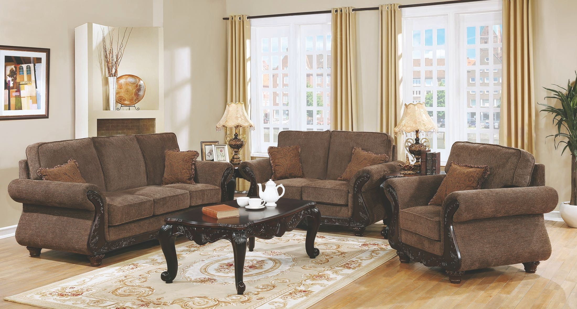 Phaedra light brown living room set 506411 coaster furniture for Light brown living room